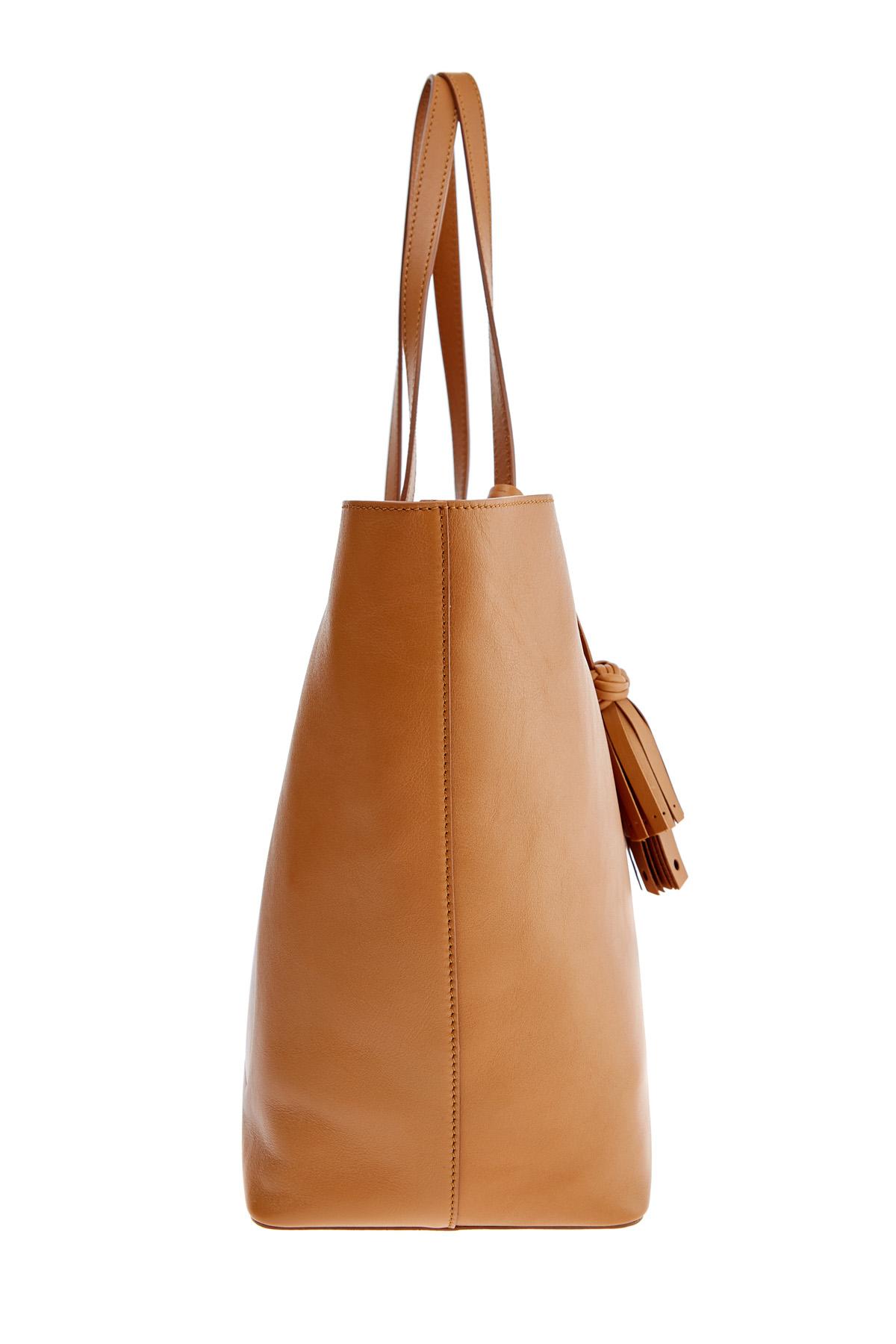 Вместительная сумка-тоут из матовой гладкой кожи с брелоком-кистью SANTONI 1822ba c70 Фото 4