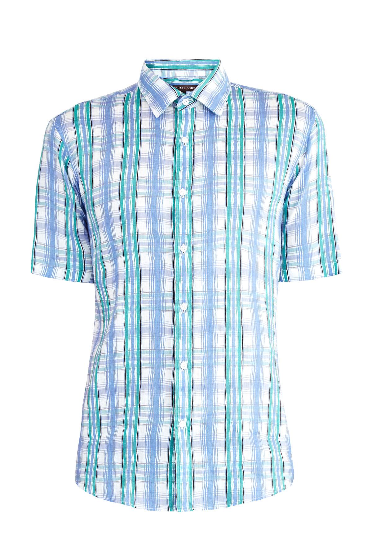 Приталенная рубашка из тонкого льна с принтом в клетку