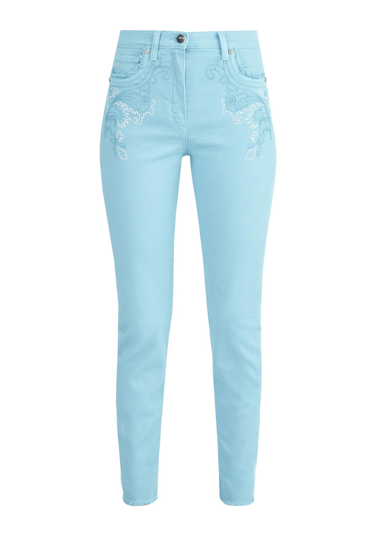 Зауженные джинсы на высокой посадке с вышивкой ручной работы
