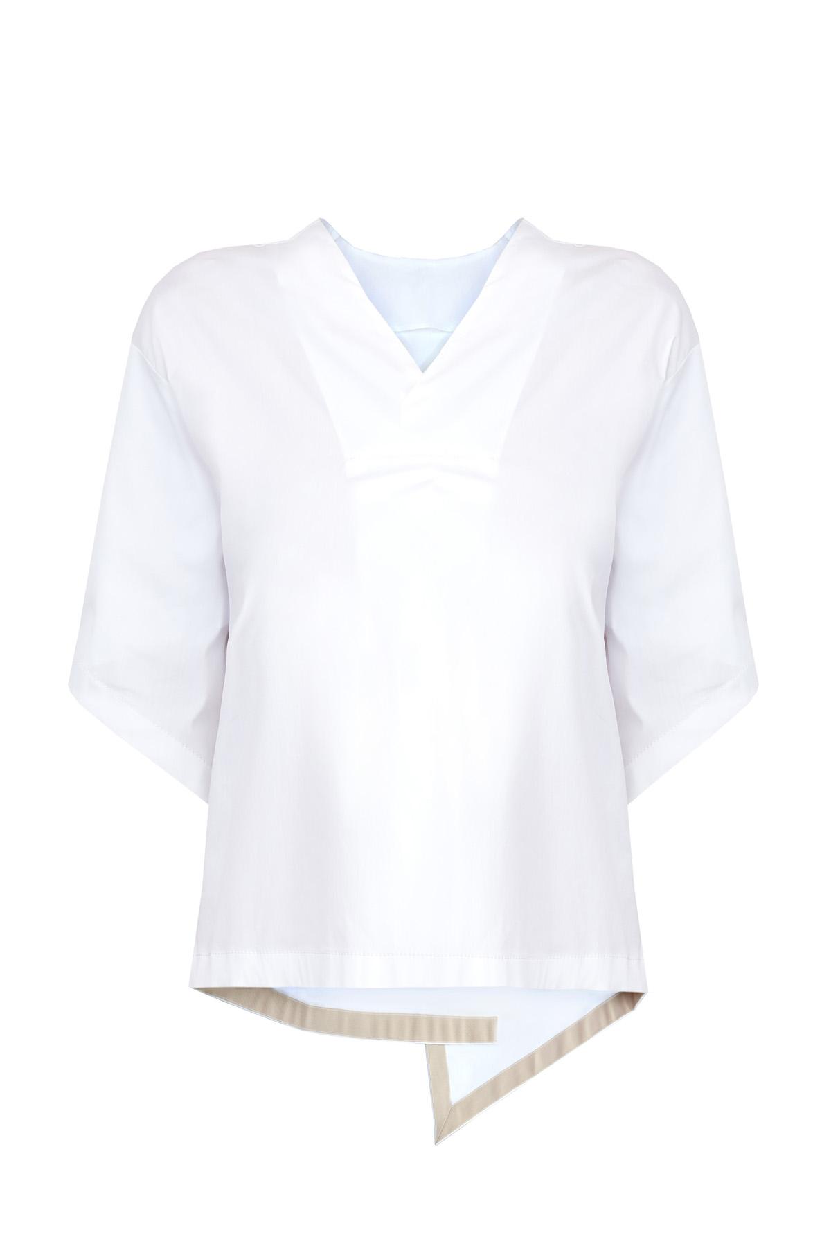 Купить Блуза асимметричного oversize-кроя из плотного хлопка, LORENA ANTONIAZZI, Италия, хлопок 72%, полиамид 23%, эластан 5%