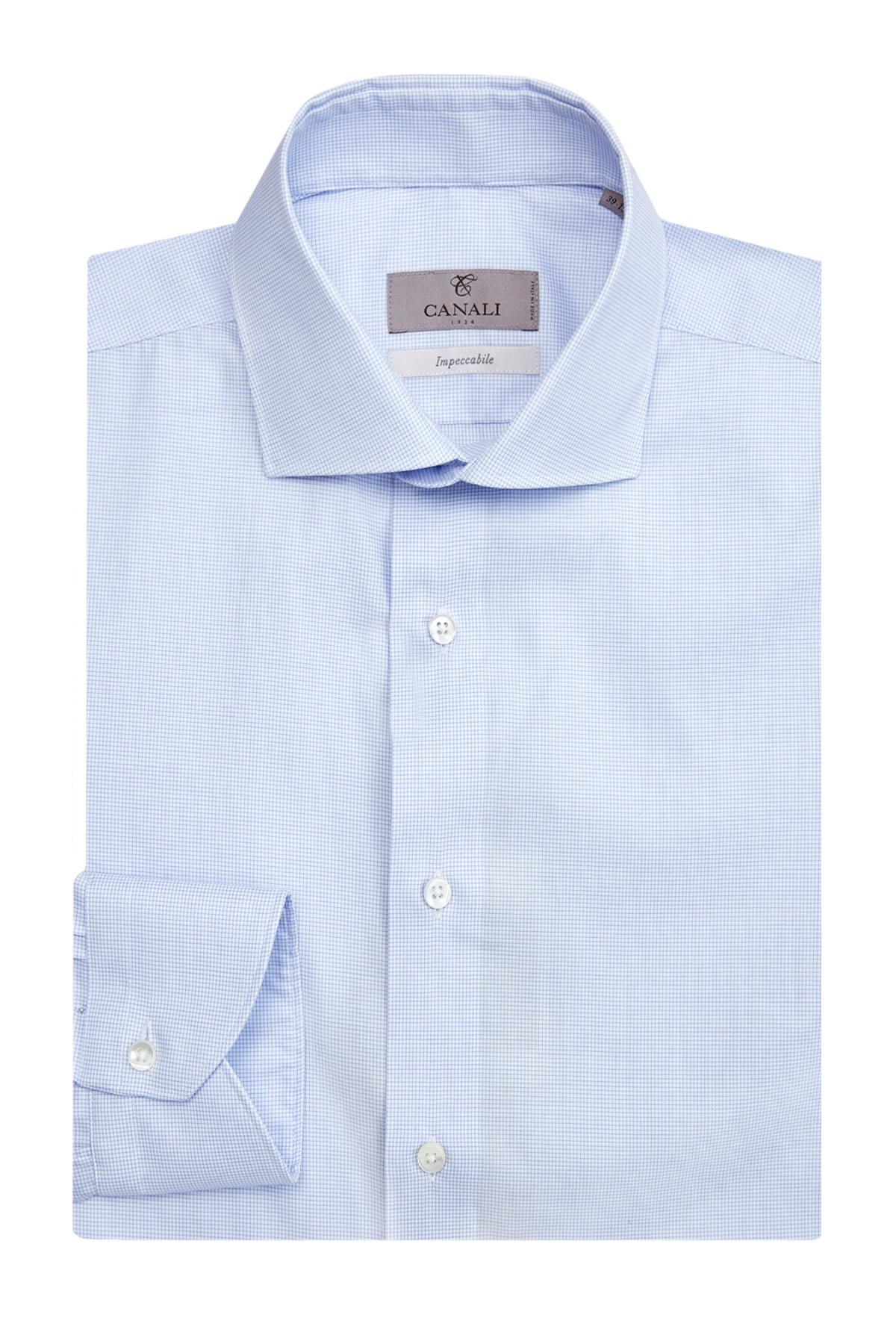 Рубашка из хлопка Impeccabile с микро-принтом в клетку