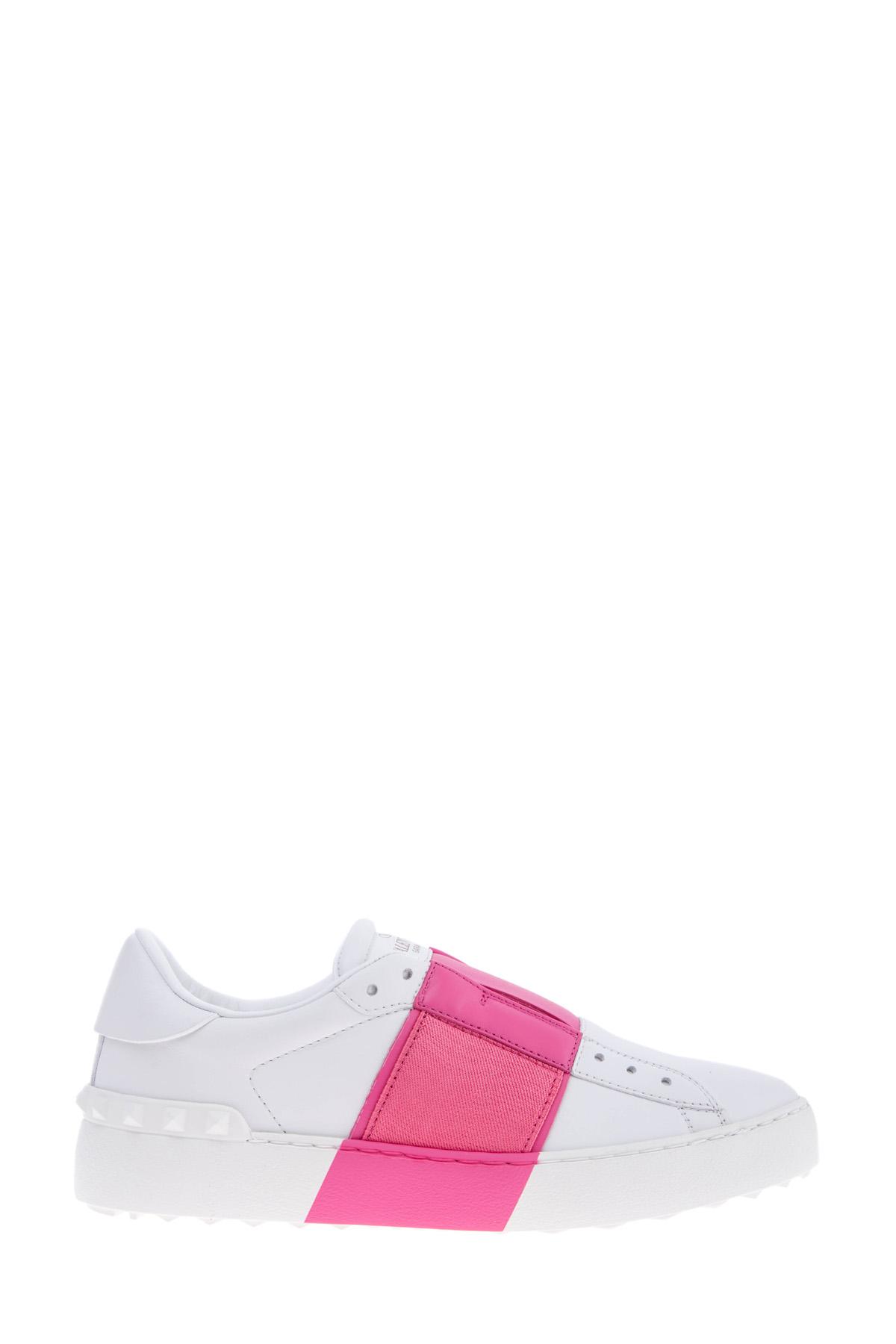Бело-розовые кеды Open Tie-Up из кожи наппа с эластичной вставкой