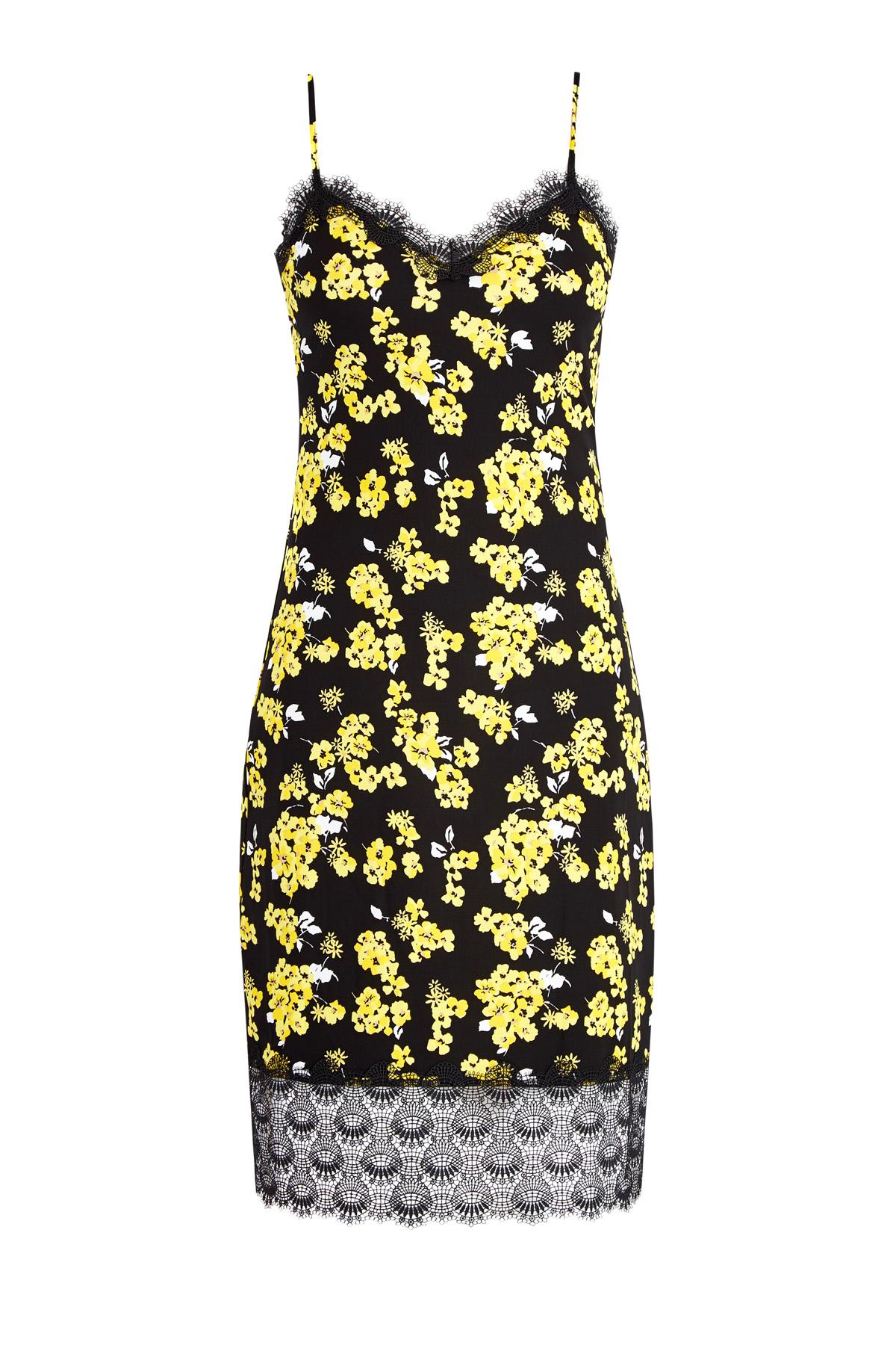 Платье-комбинация из матового джерси с кружевной отделкой