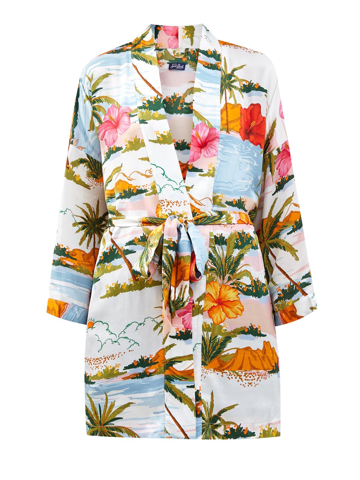 Струящееся кимоно с тропическим принтом и поясом