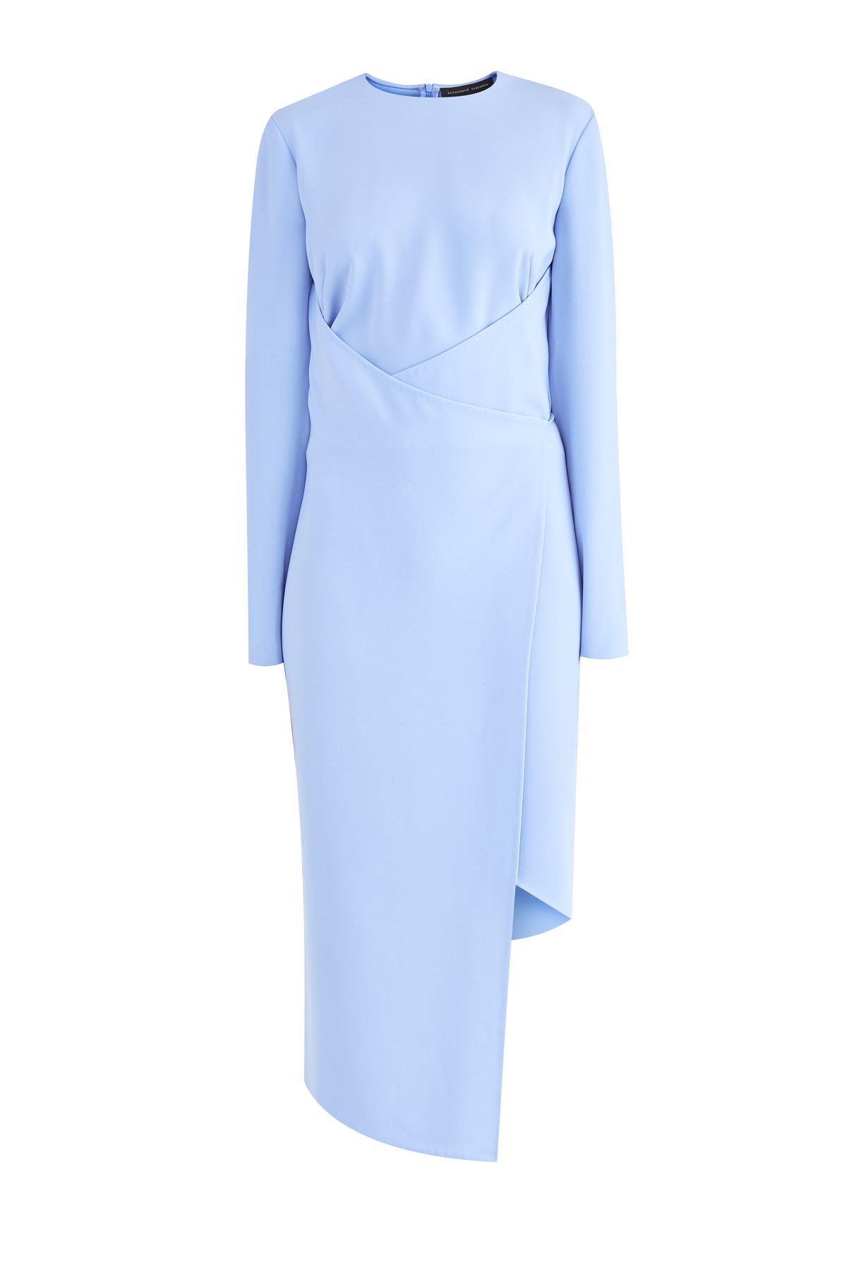 Купить Платье-футляр асимметричного кроя на запах, ALEXANDER TEREKHOV, Россия, полиэстер 100%