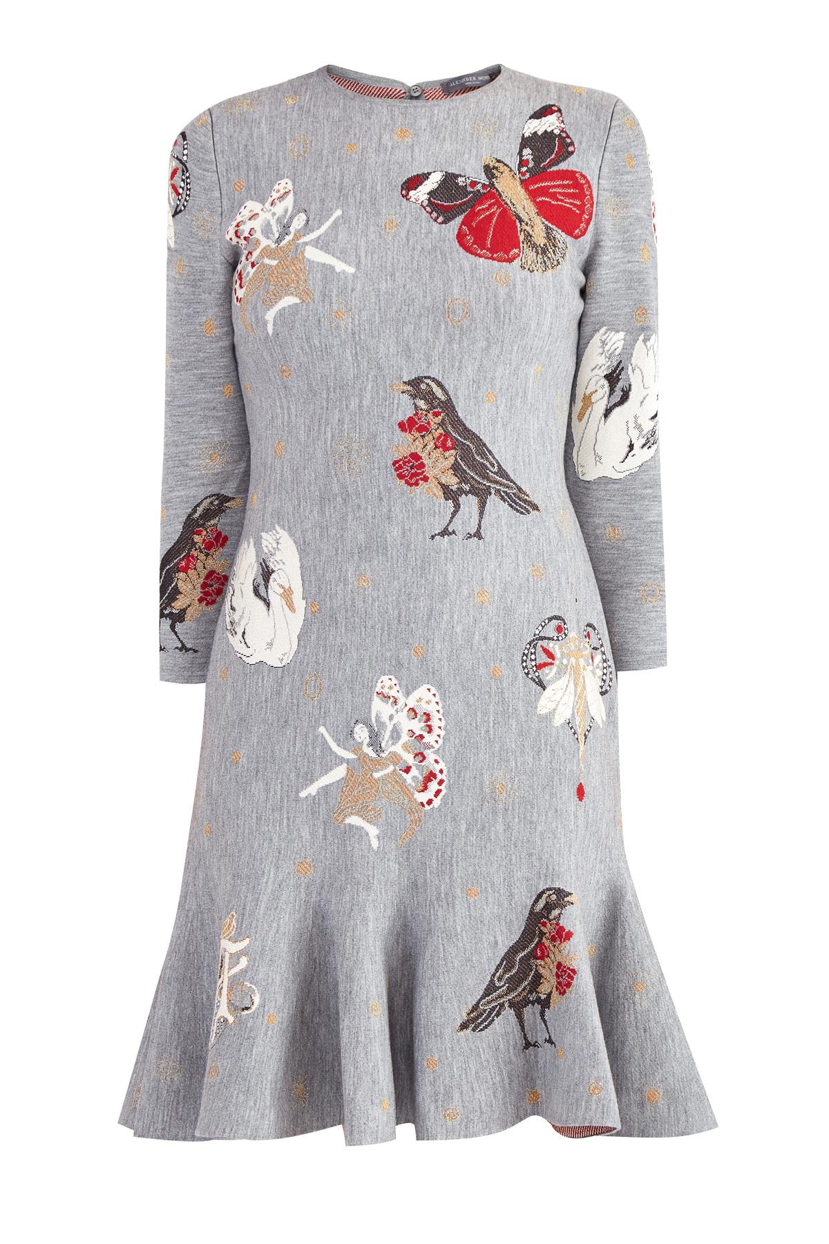 Платье с жаккардовой вышивкой в готическом стиле, ALEXANDER MCQUEEN, Италия, шелк 42%, шерсть 39%, полиамид 8%, металлическое волокно 5%, полиэстер 5%, .Экокожа 1%  - купить со скидкой