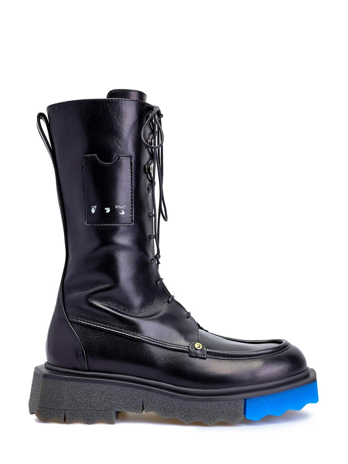 Высокие ботинки из кожи на массивной подошве-colorblock
