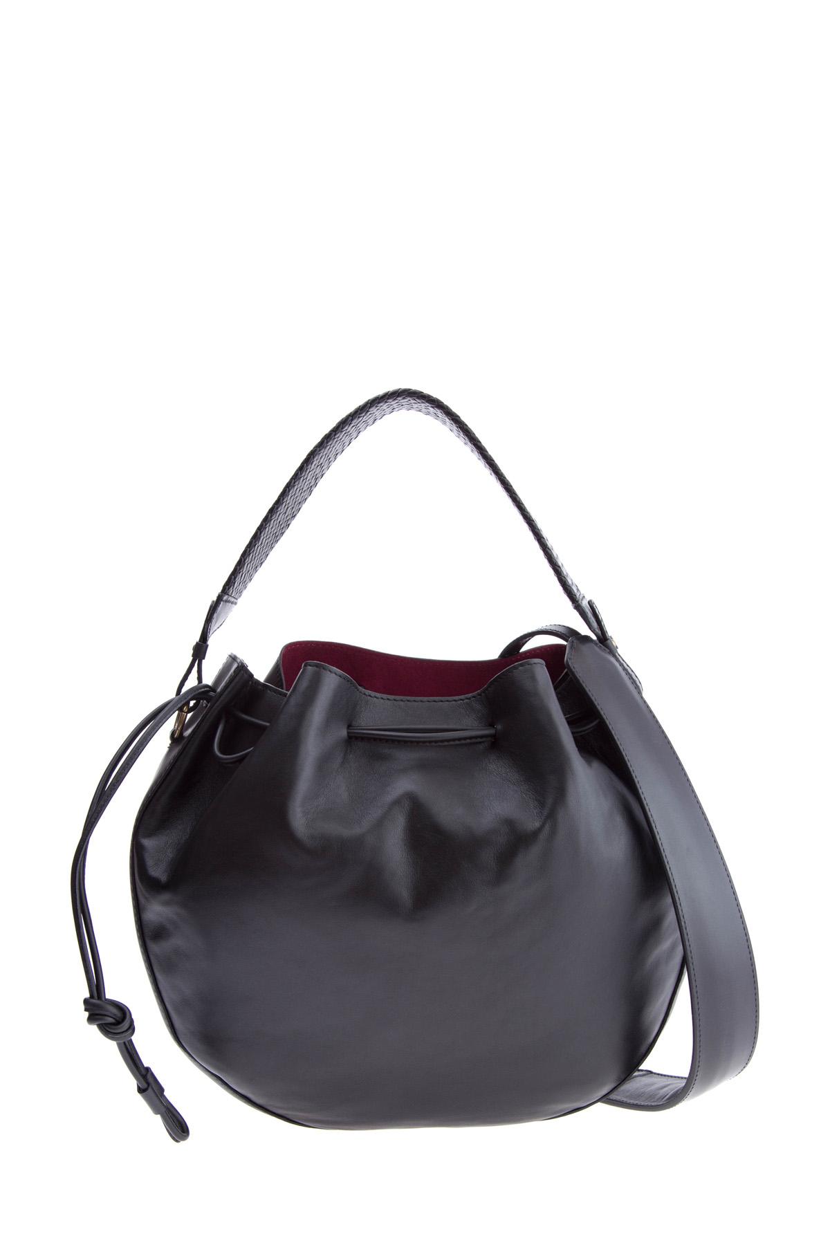 Купить Кожаная сумка полукруглой формы с широким плечевым ремнем и кулиской, ETRO, Италия, кожа 100%