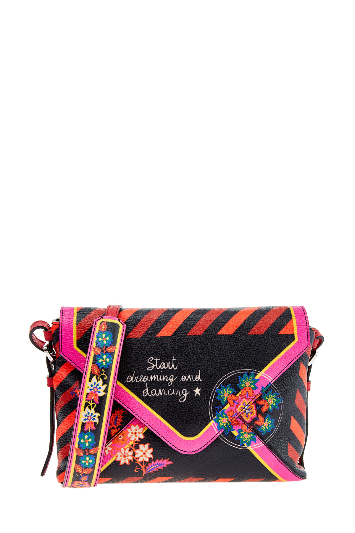Купить Клатч-конверт в романтическим стиле с принтом The Daydreamer, ETRO, Италия, кожа 100%