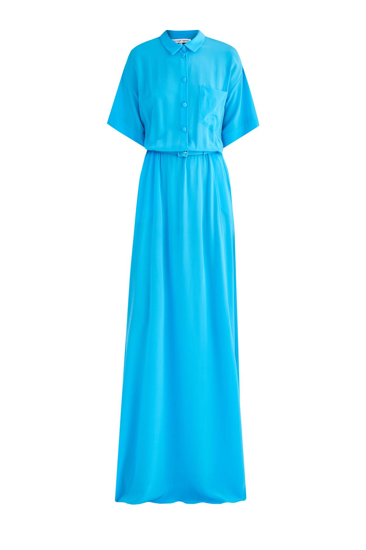 Купить Шелковое платье-рубашка с лифом-oversize и расклешенным подолом, ALEXANDER TEREKHOV, Россия, шелк 100%