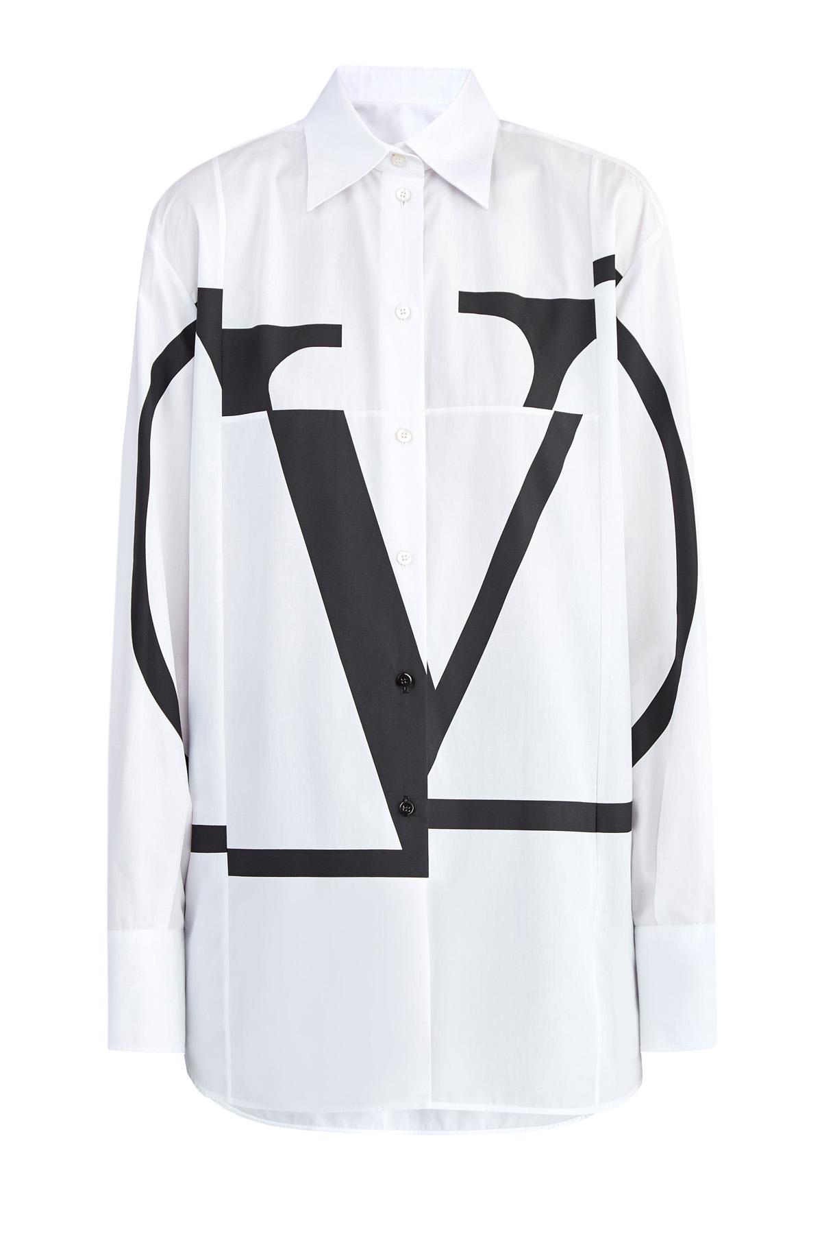 Рубашка из поплина с макро-принтом VLOGO и асимметричными кромками