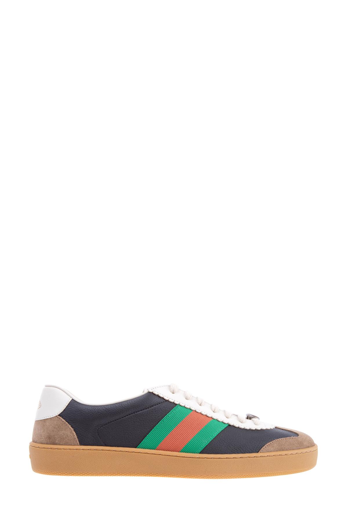 Купить Кеды в стиле баскетбольной обуви с 70-х годов с текстильными, замшевыми и кожаными вставками, GUCCI, Италия, кожа 100%, замша 100%