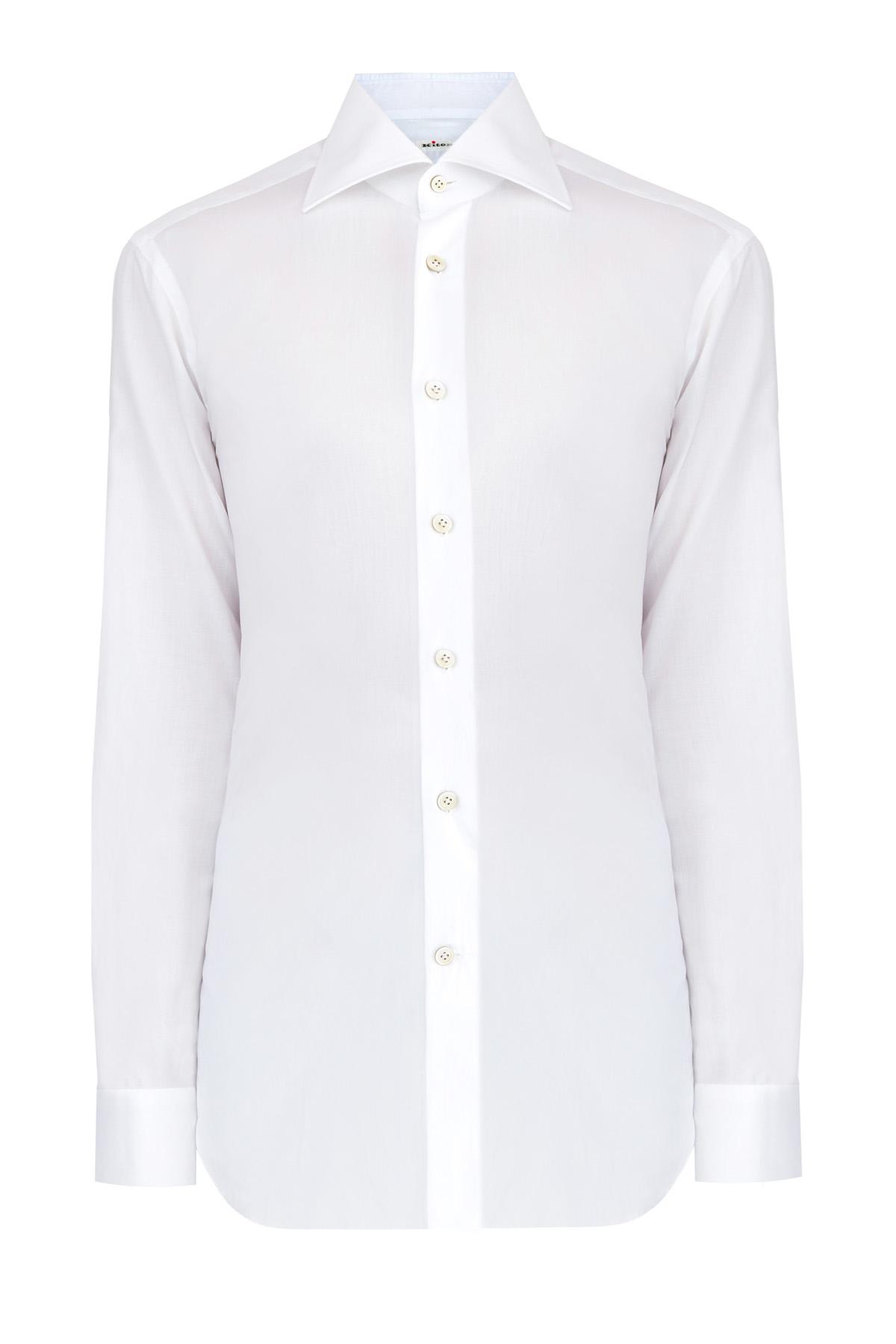 Классическая белая рубашка с пуговицами из перламутра фото