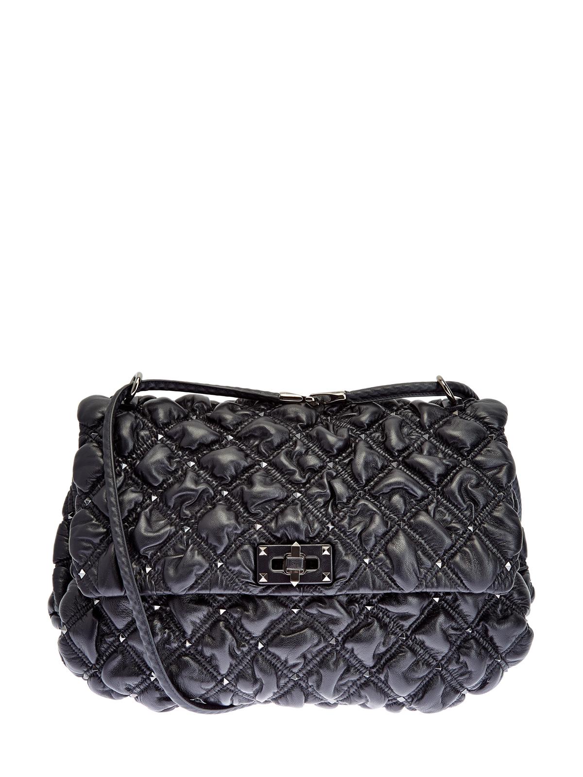 Черная сумка SpikeMe Bag из тисненой кожи наппа