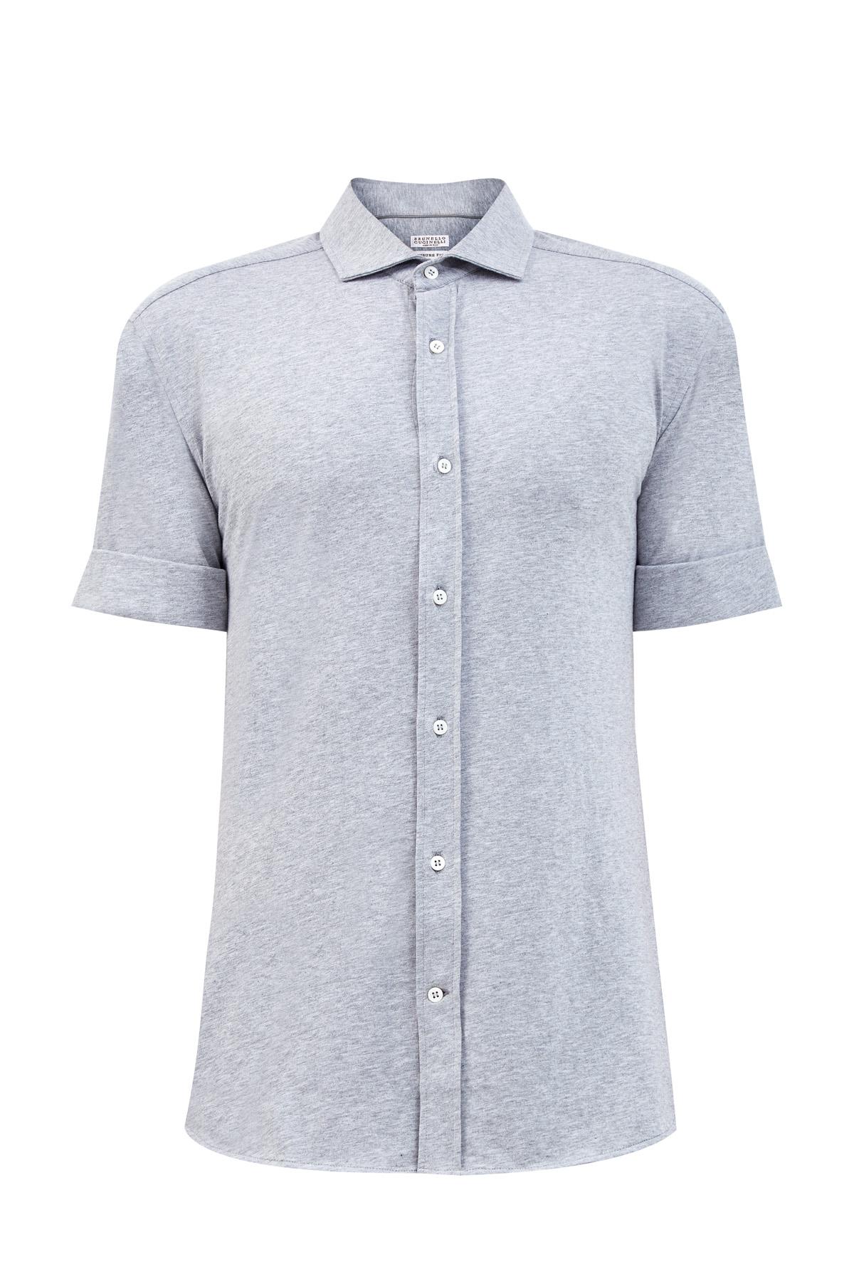 Рубашка из хлопка джерси с отворотами на рукавах