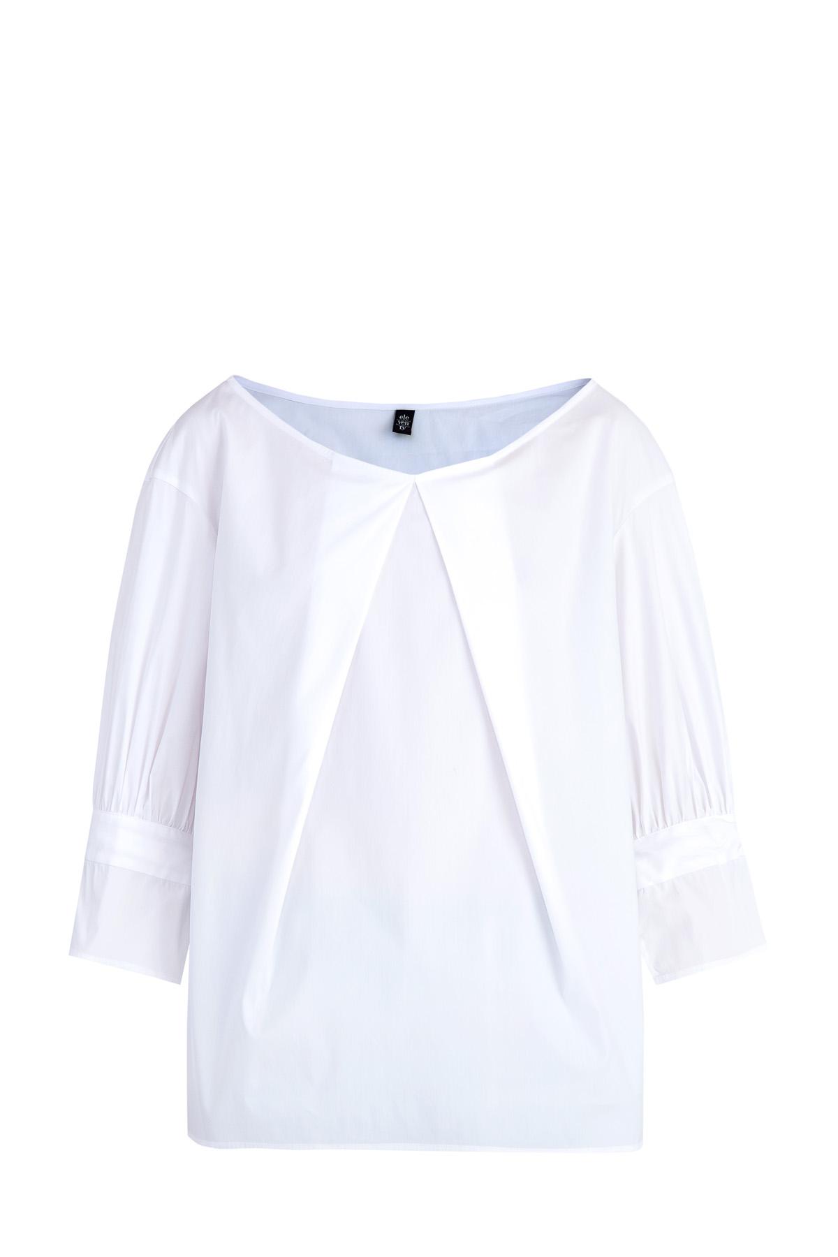 Блузка свободного кроя с крупными встречными складками у ворота