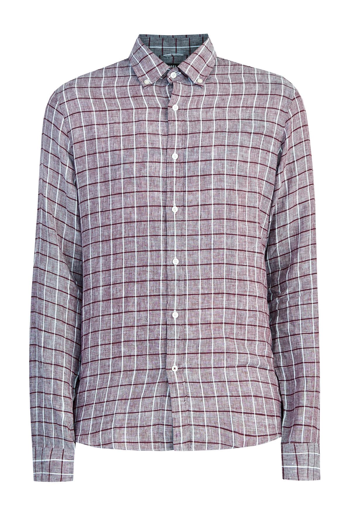 Льняная рубашка slim fit с принтом в крупную клетку