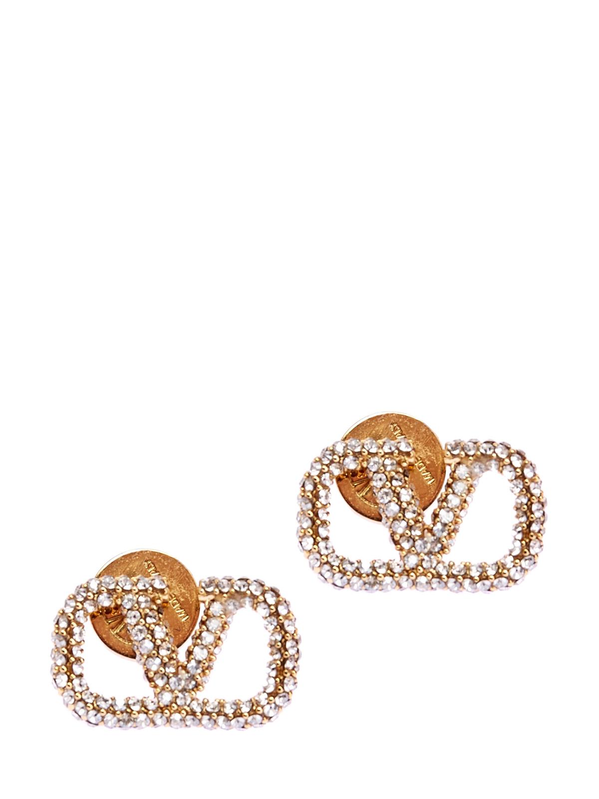 Пусеты в виде логотипа VLOGO Signature с кристаллами