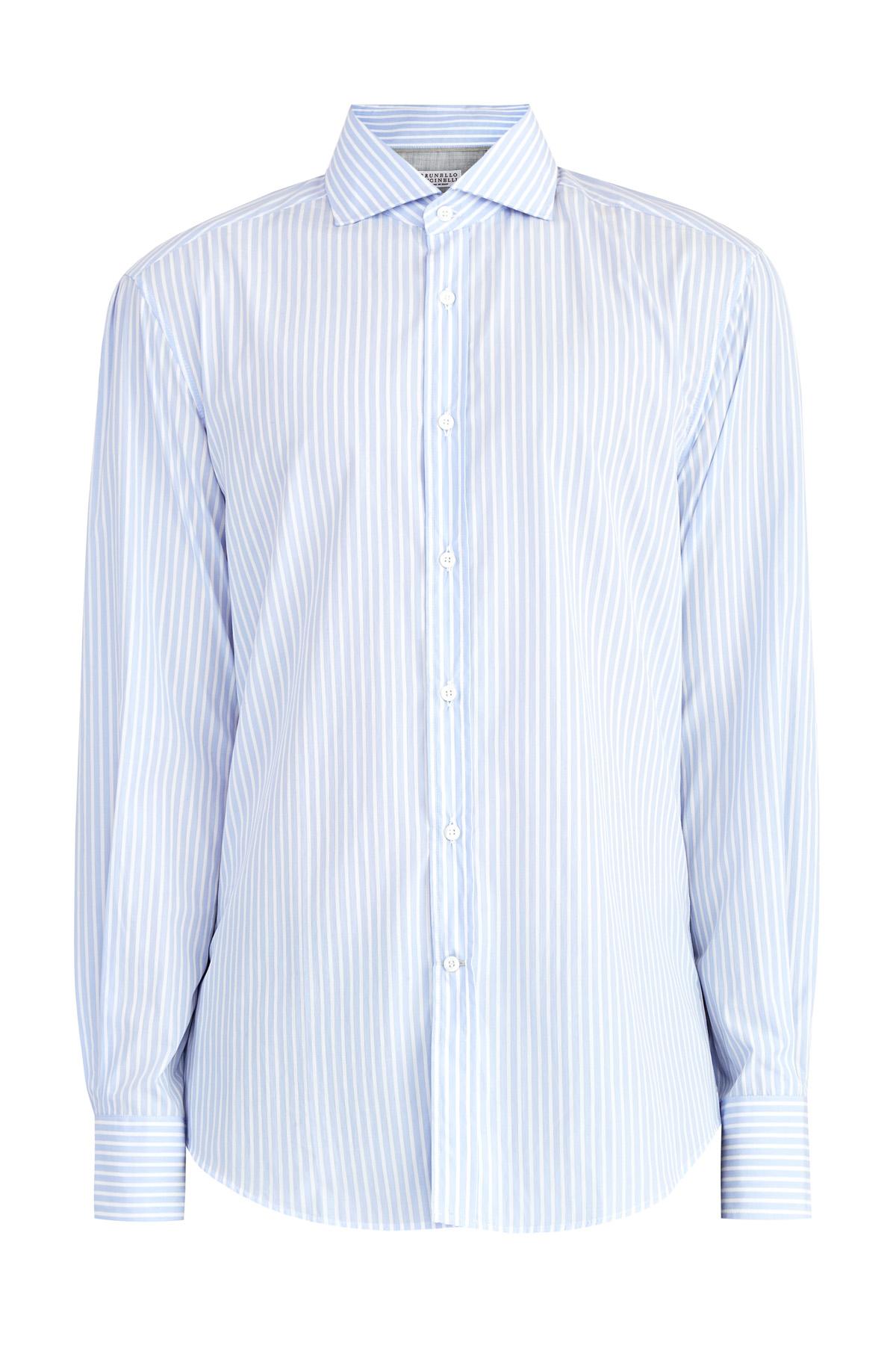 Хлопковая рубашка вполоску приглушенного оттенка