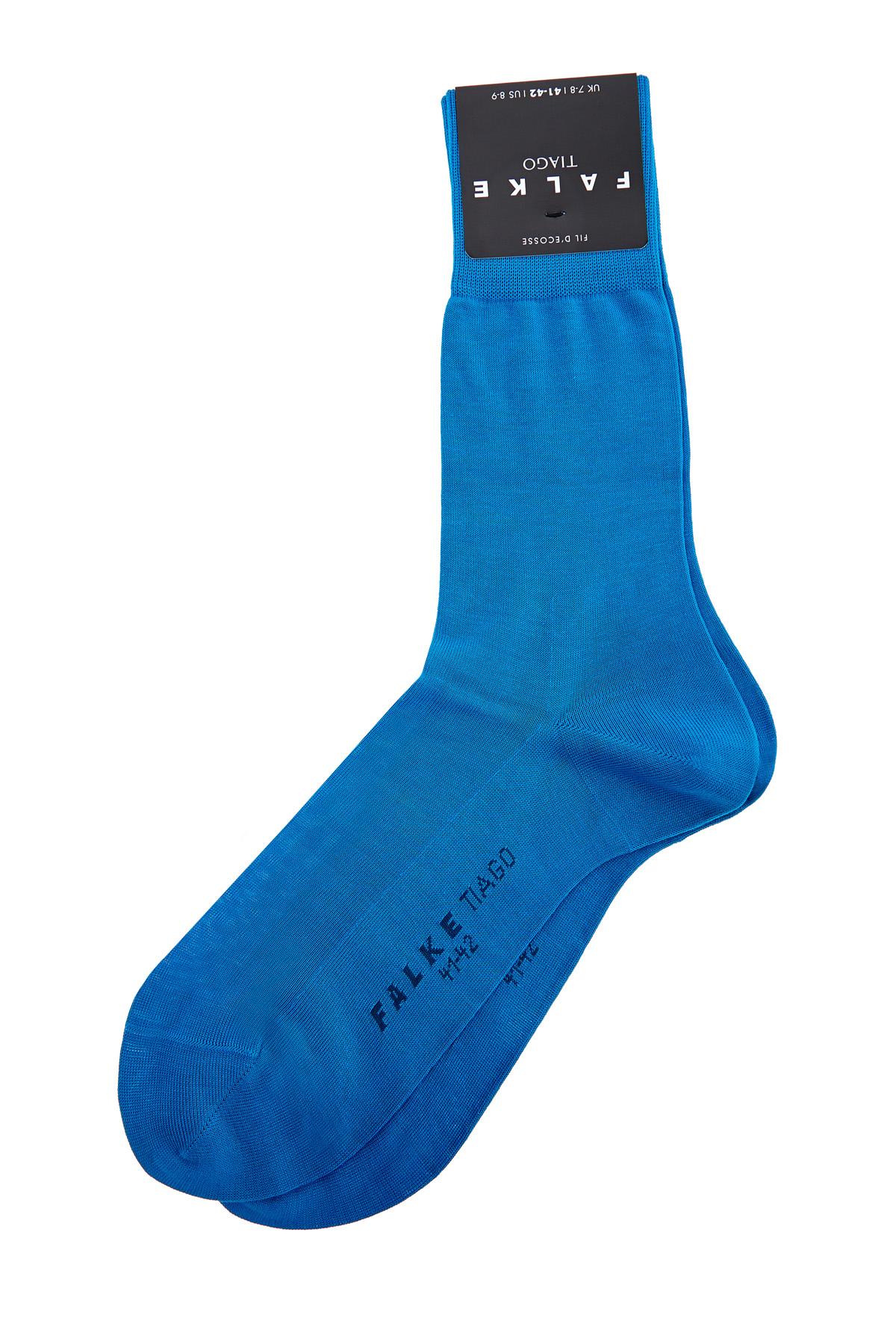 Бирюзовые носки из пряжи двухслойного скручивания.