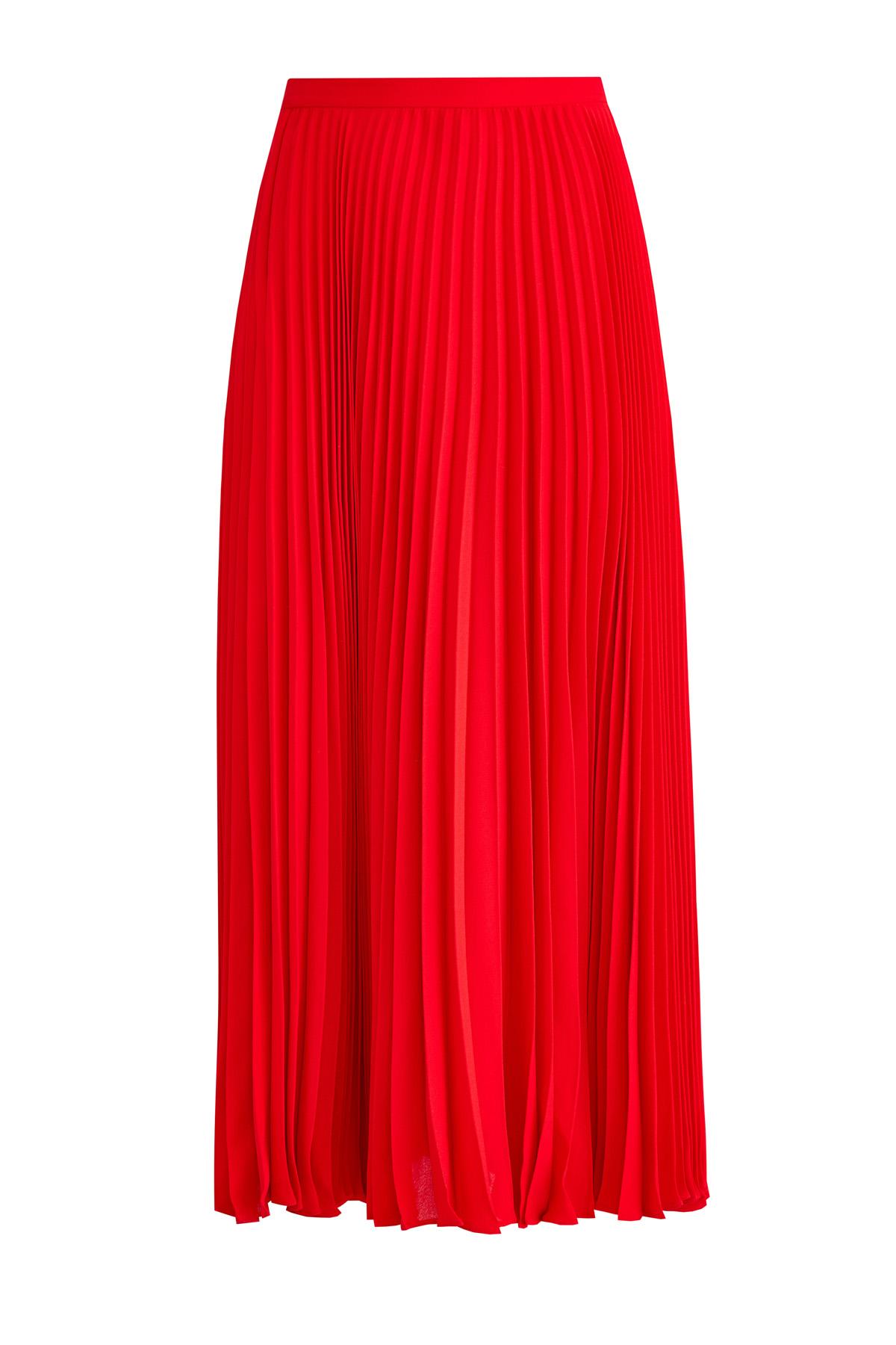 Купить со скидкой Плиссированная юбка-миди из шелкового жоржета