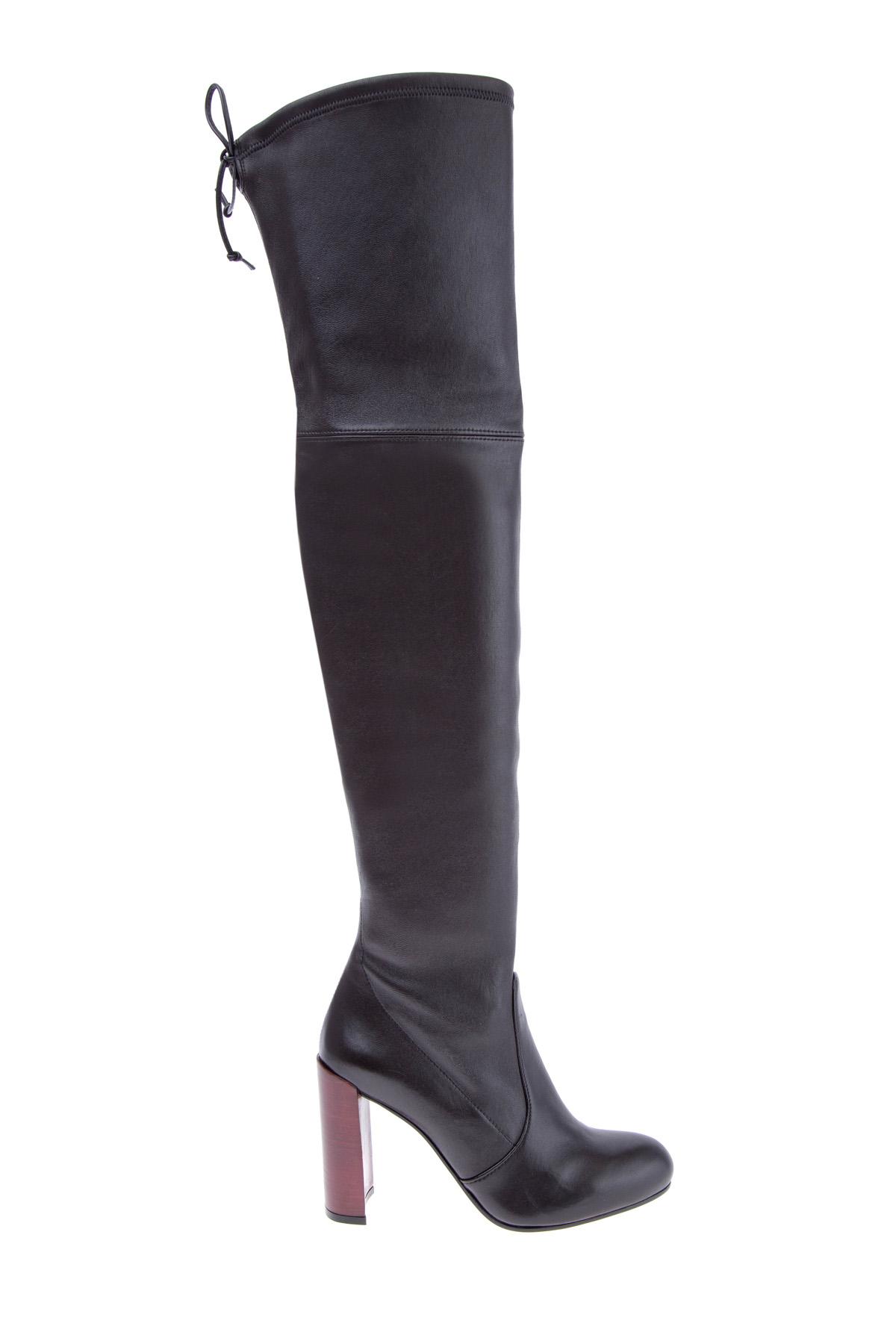 Ботфорты из кожи с кулиской на кромке и устойчивым высоким каблуком