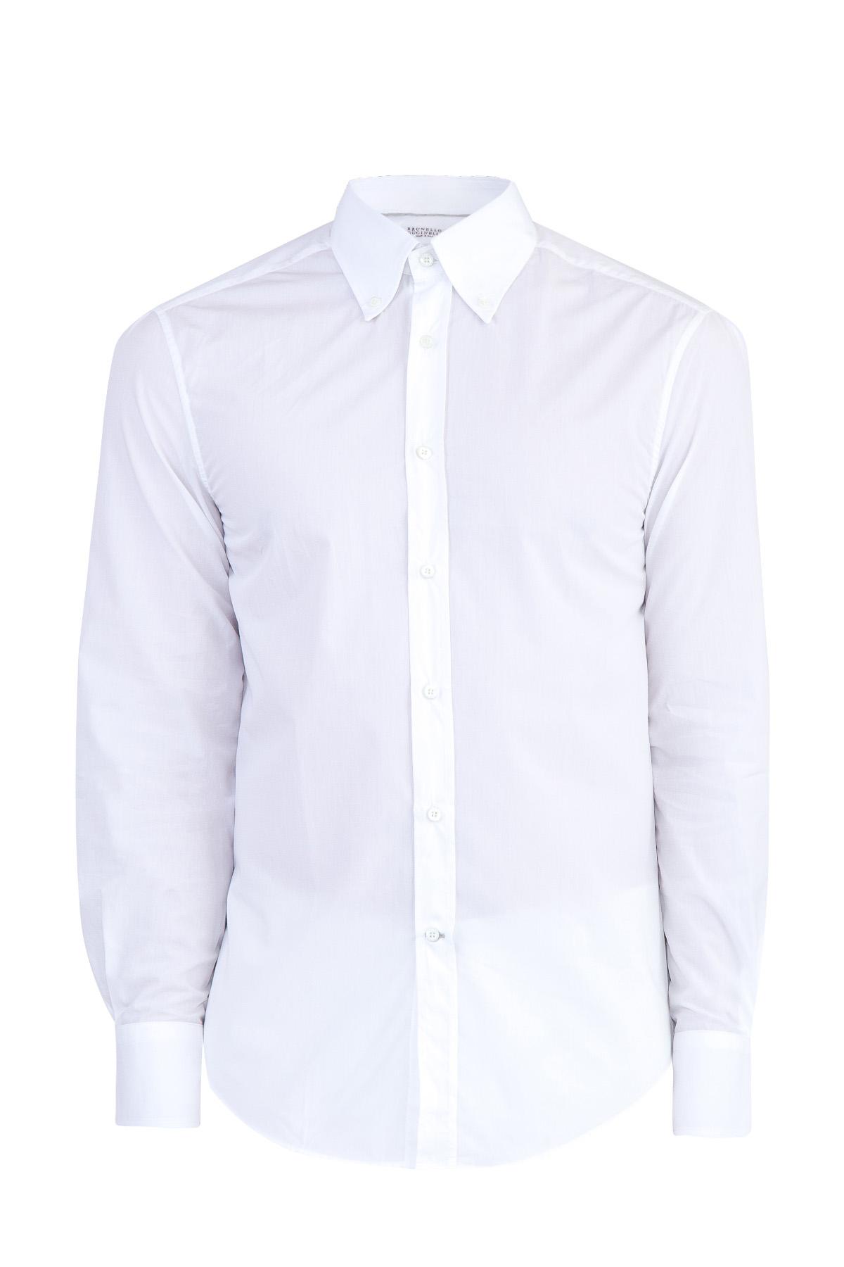 Купить Рубашка из хлопкового поплина с длинными рукавами, BRUNELLO CUCINELLI, Италия, хлопок 100%
