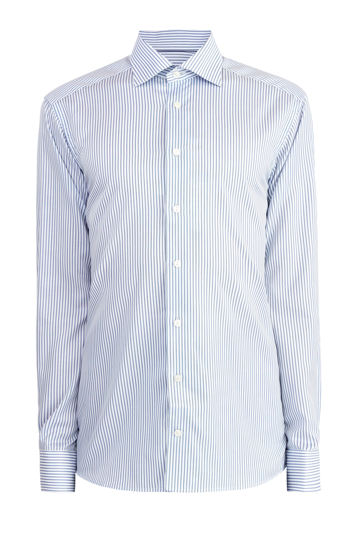 Рубашка Slim Fit из твила Signature с принтом в тонкую полоску