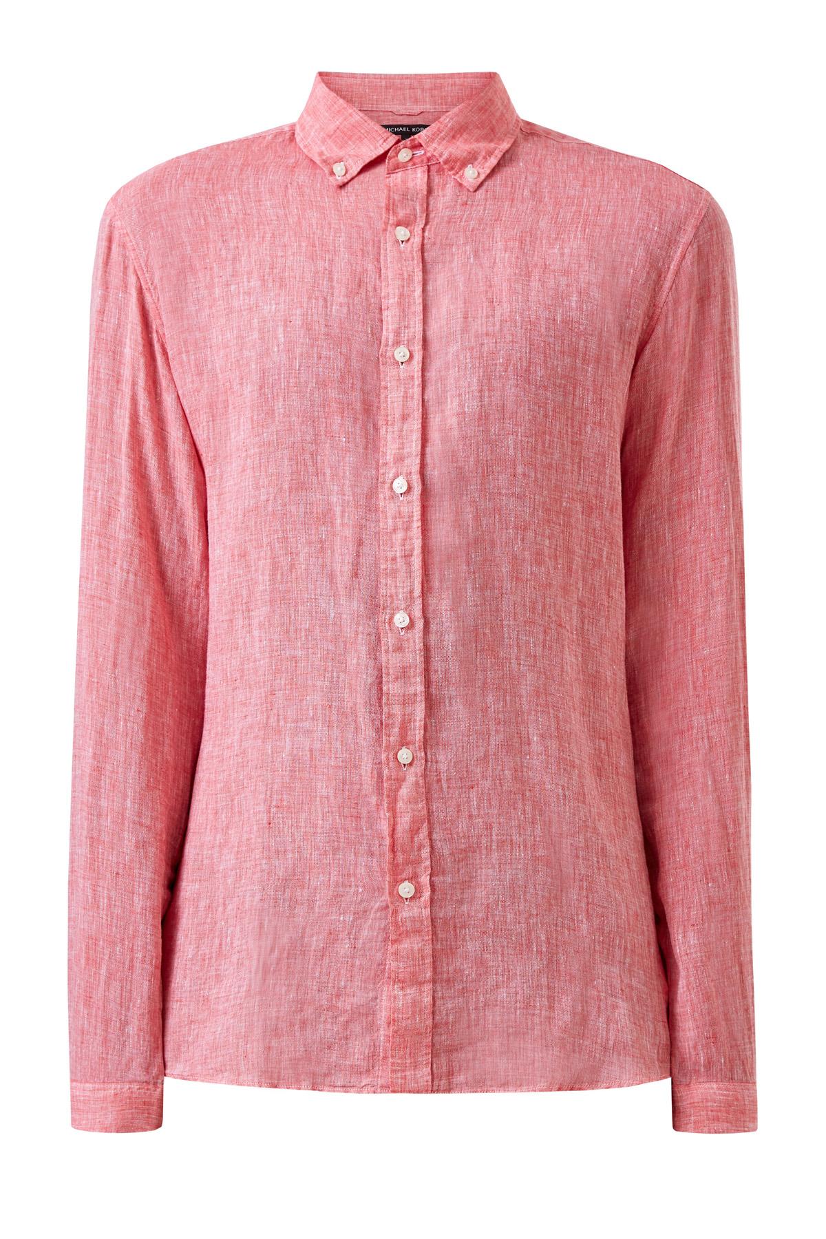 Льняная рубашка Slim Fit с воротником button-down
