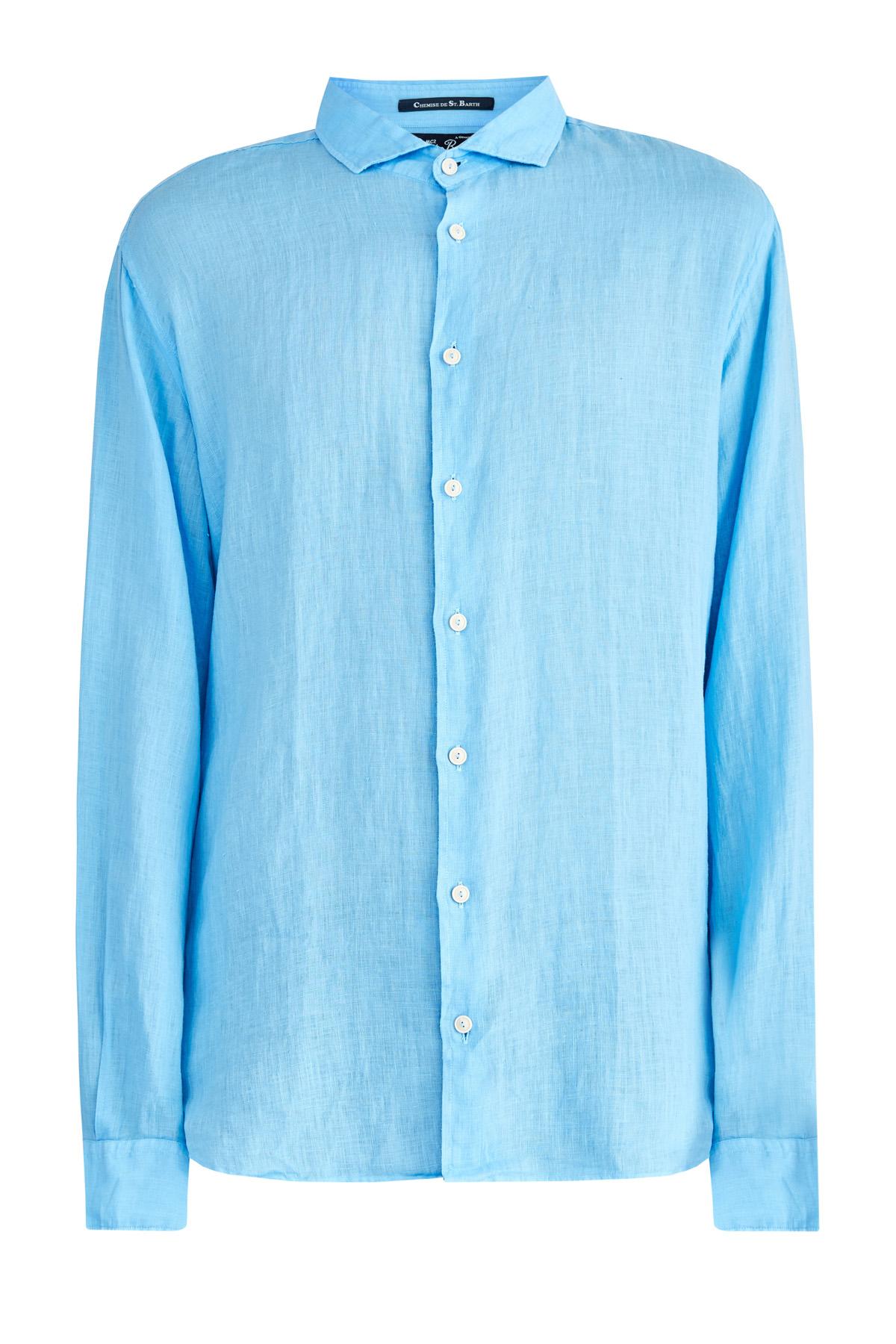 Купить Однотонная льняная рубашка приталенного кроя, MC2 SAINT BARTH, Италия, лен 100%
