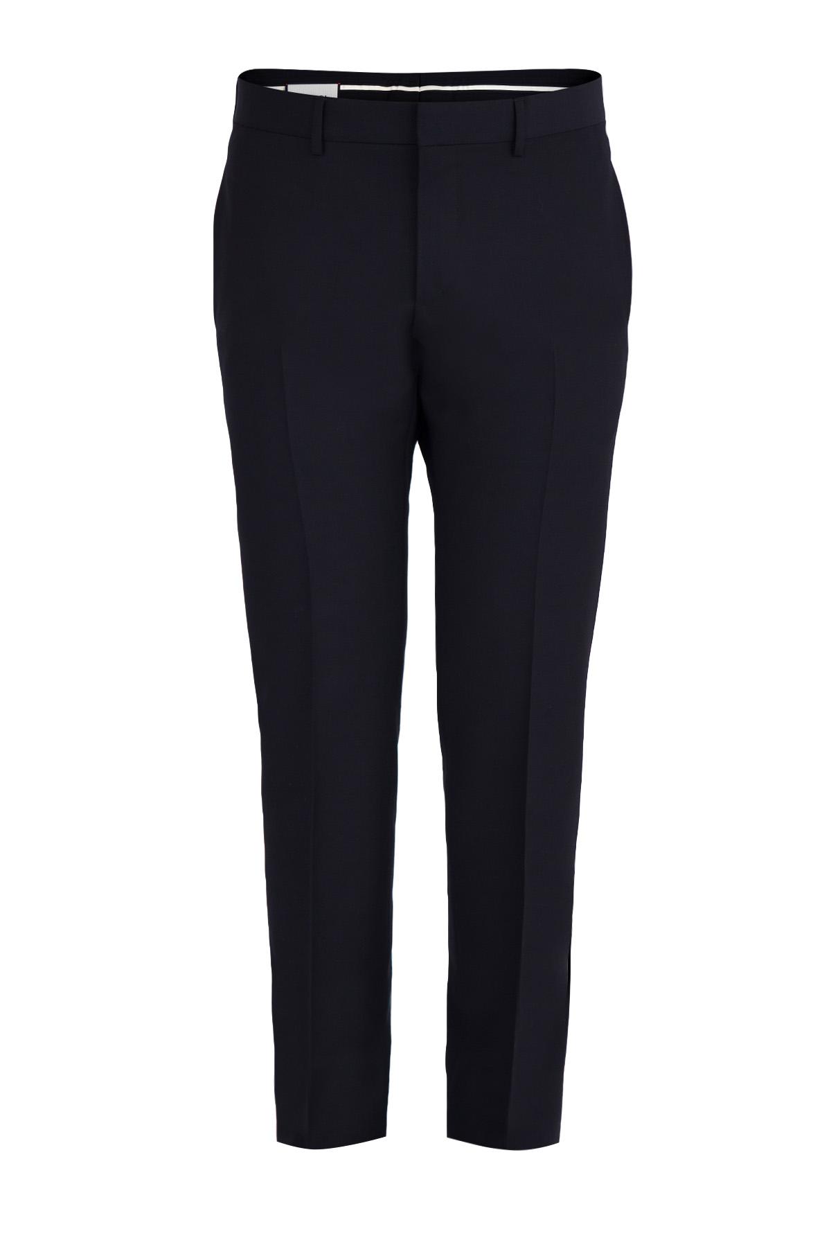 Прямые брюки из шерсти и мохера в деловом стиле фото