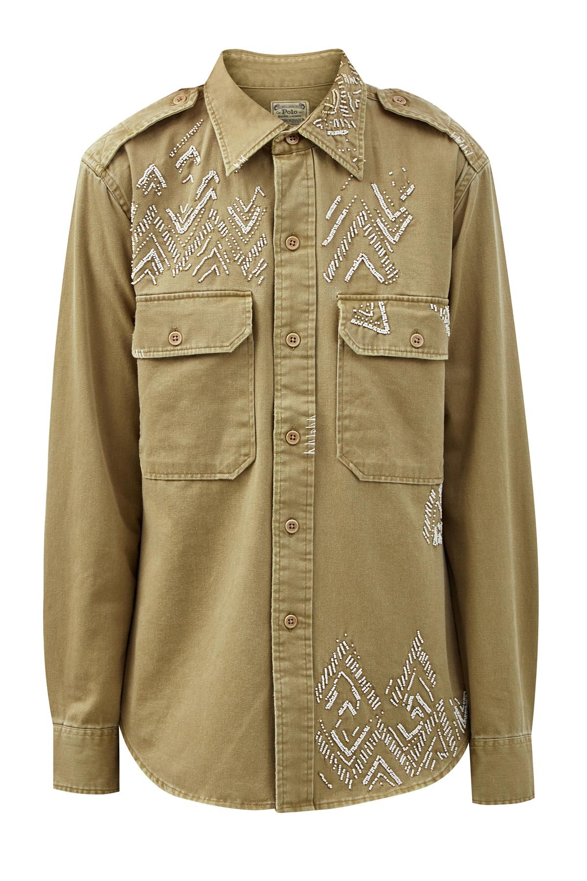 Рубашка из хлопкового твила с вышивкой бисером фото