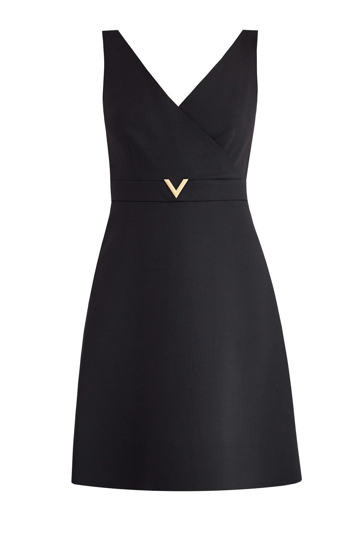 Платье на запах с широкими бретелями и литым символом V фото