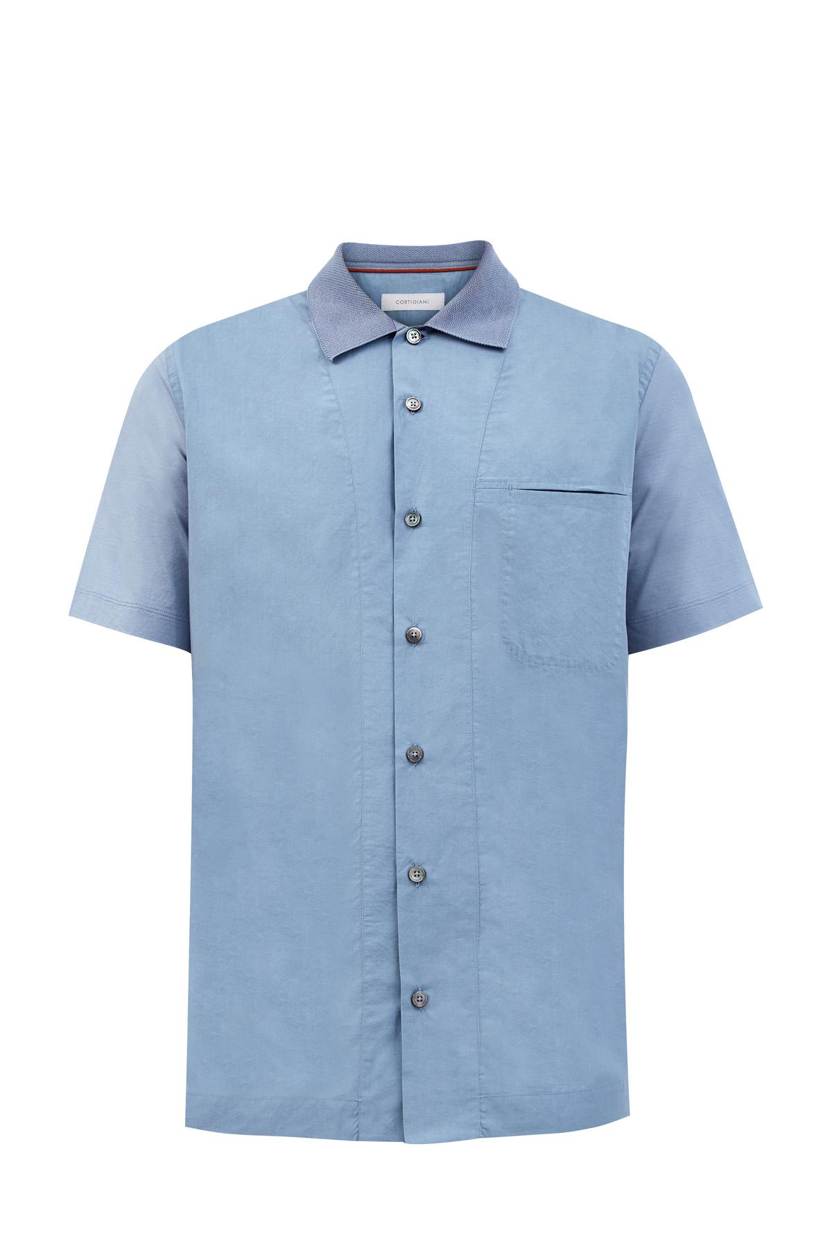Рубашка из двух видов ткани с трикотажным воротом в стиле поло