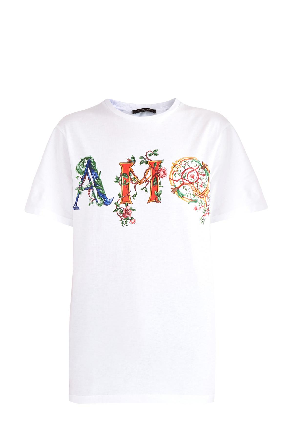 женская футболка с круглым вырезом alexander mcqueen