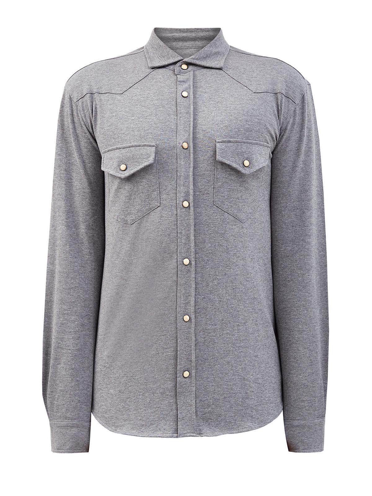 Хлопковая рубашка собъемными швами имеланжевым эффектом