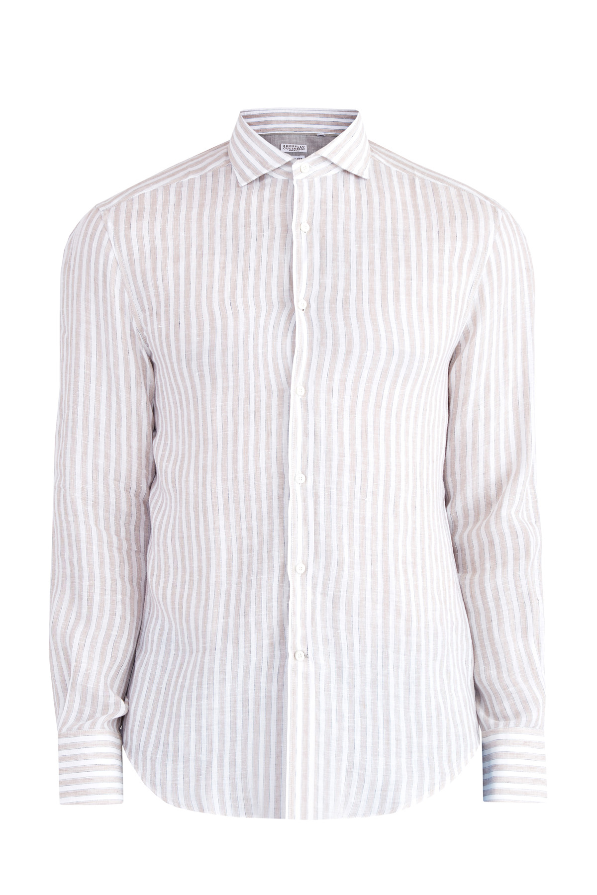 Купить Рубашка из льняного поплина с узловатыми нитями и эффектом «фламме», BRUNELLO CUCINELLI, Италия, лен 100%