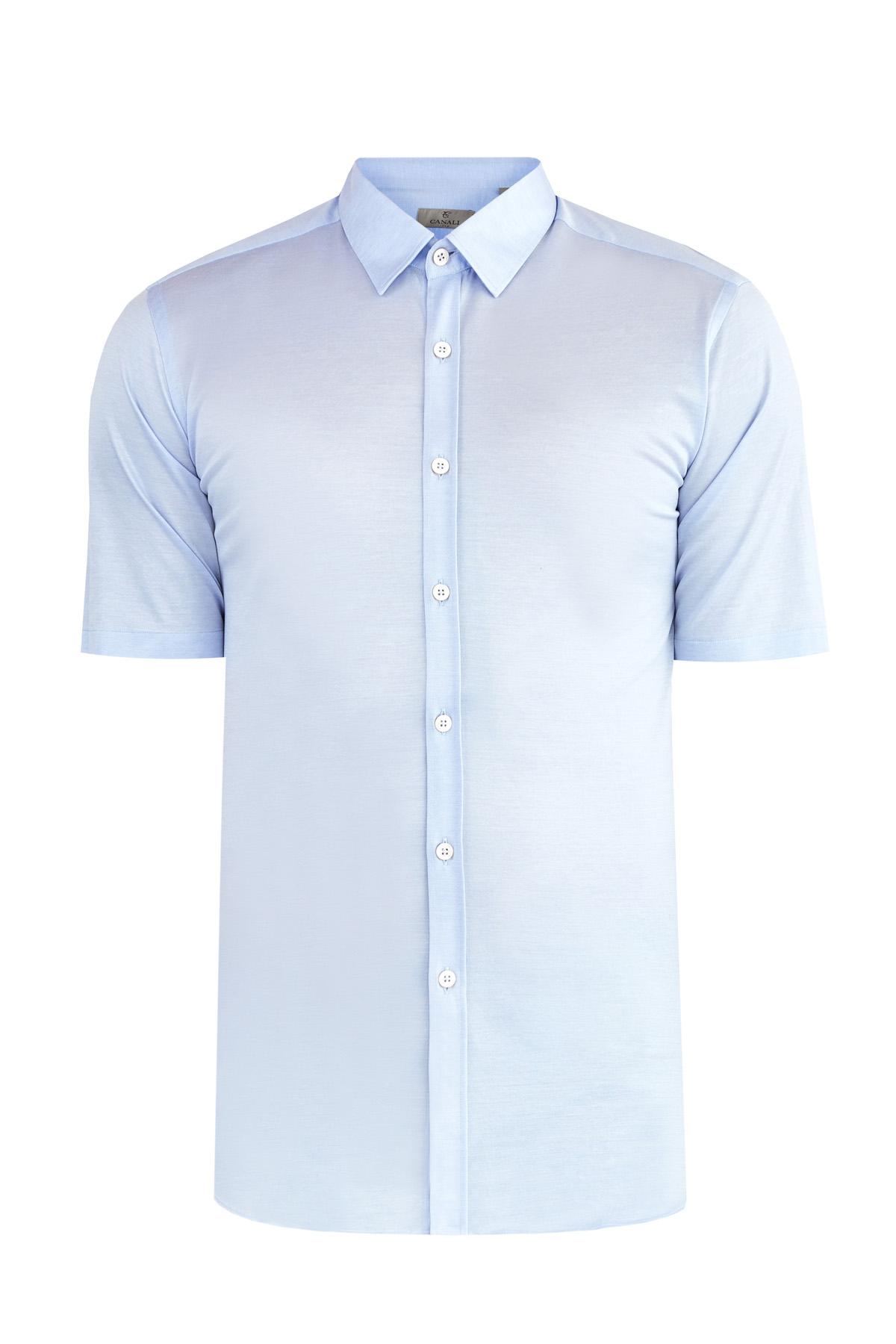 Базовая голубая рубашка с коротким рукавом из пике