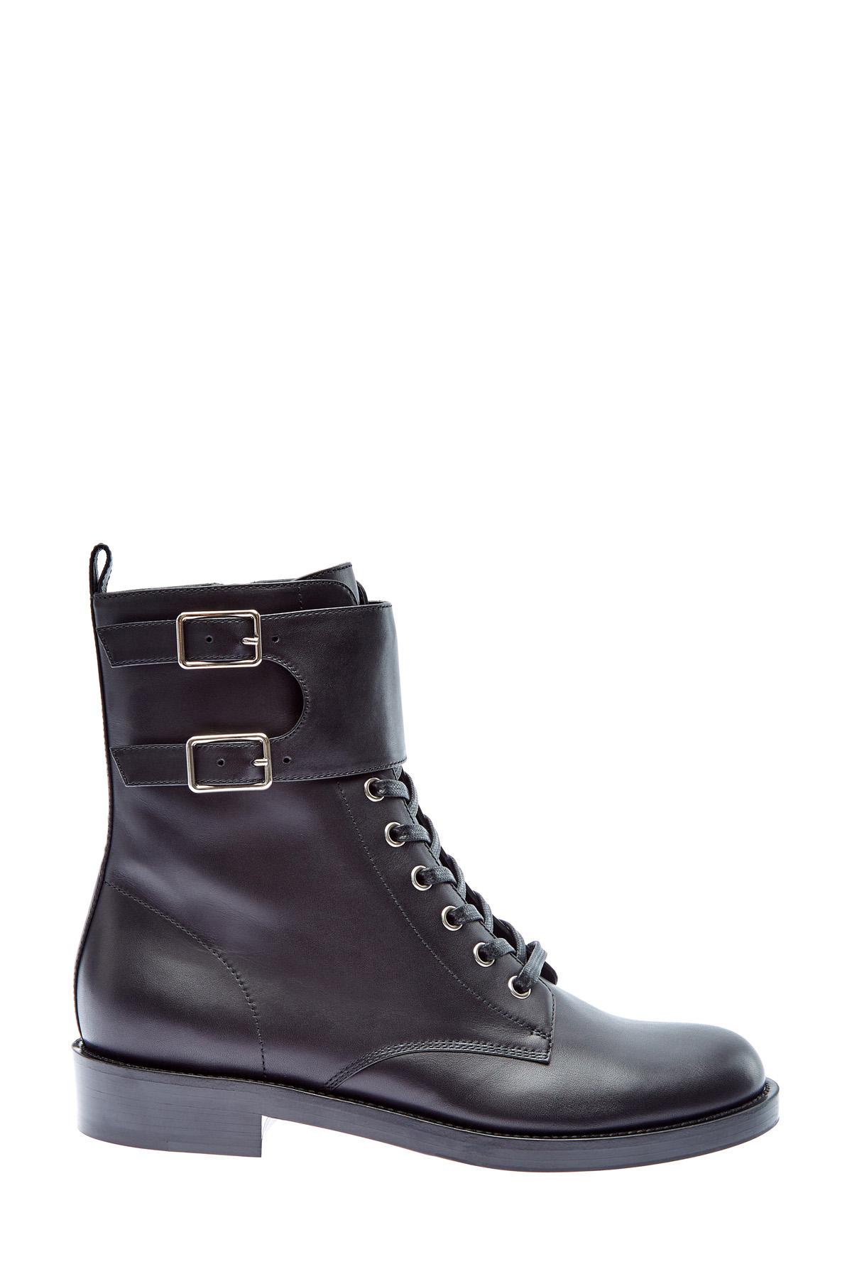 Кожаные ботинки в стиле милитари с пряжками