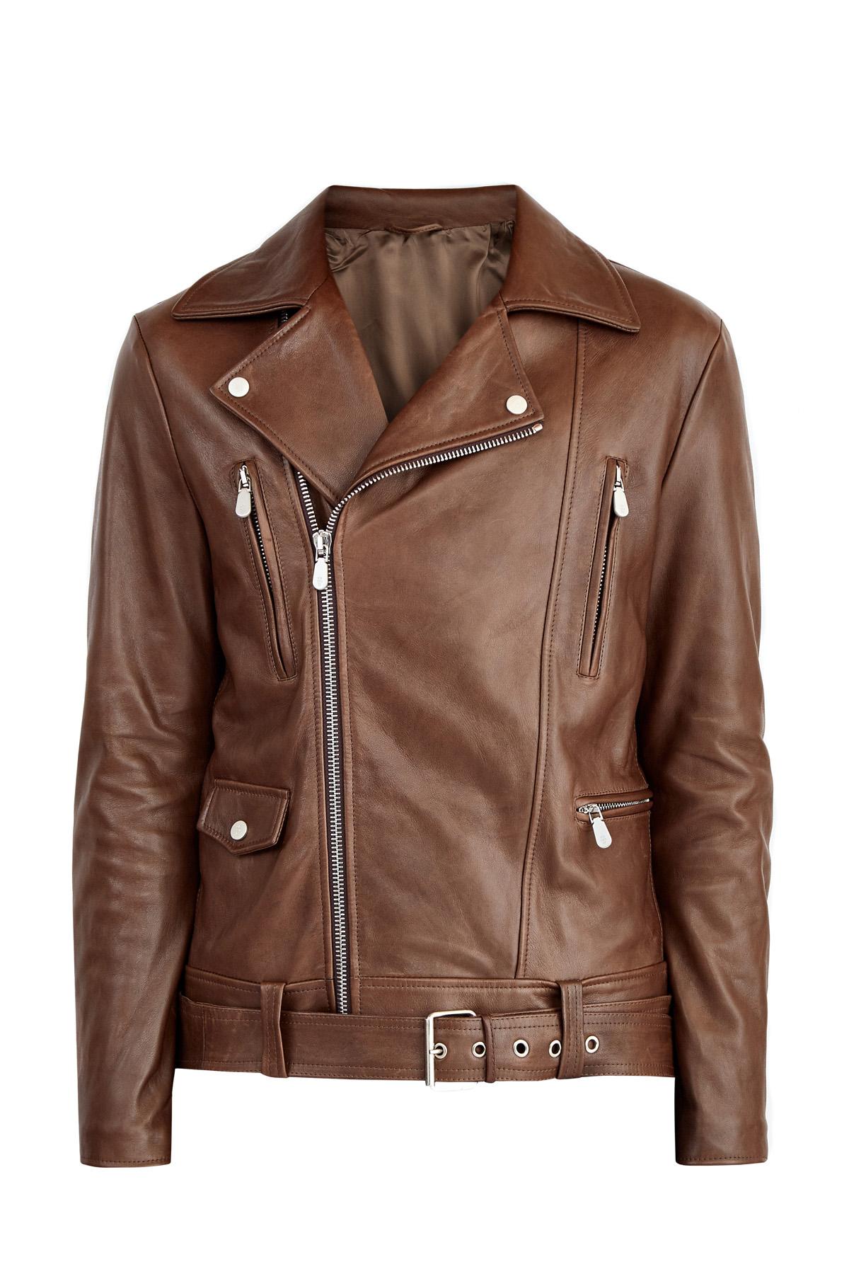 Байкерская куртка из кожи наппа с массивными молниями и ремнем фото