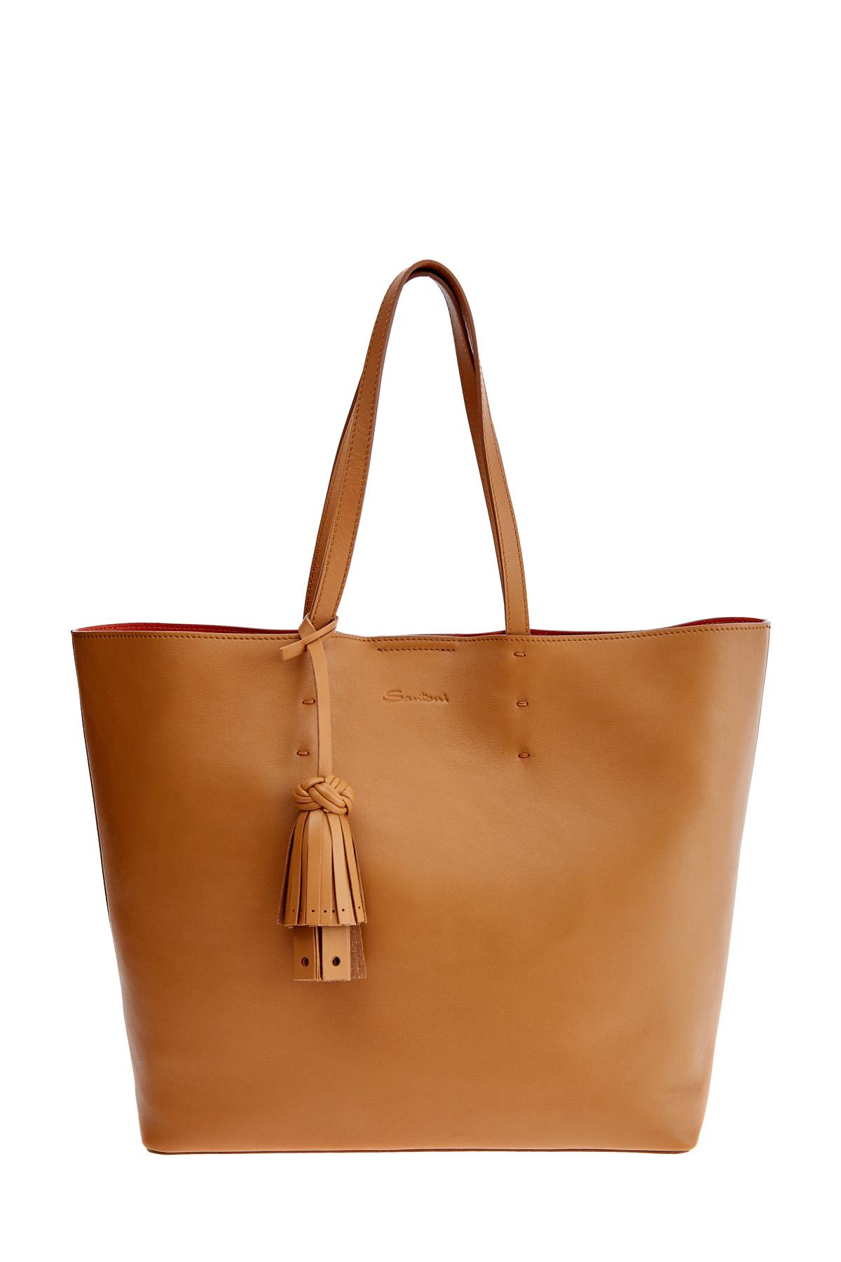 Вместительная сумка-тоут из матовой гладкой кожи с брелоком-кистью SANTONI 1822ba c70