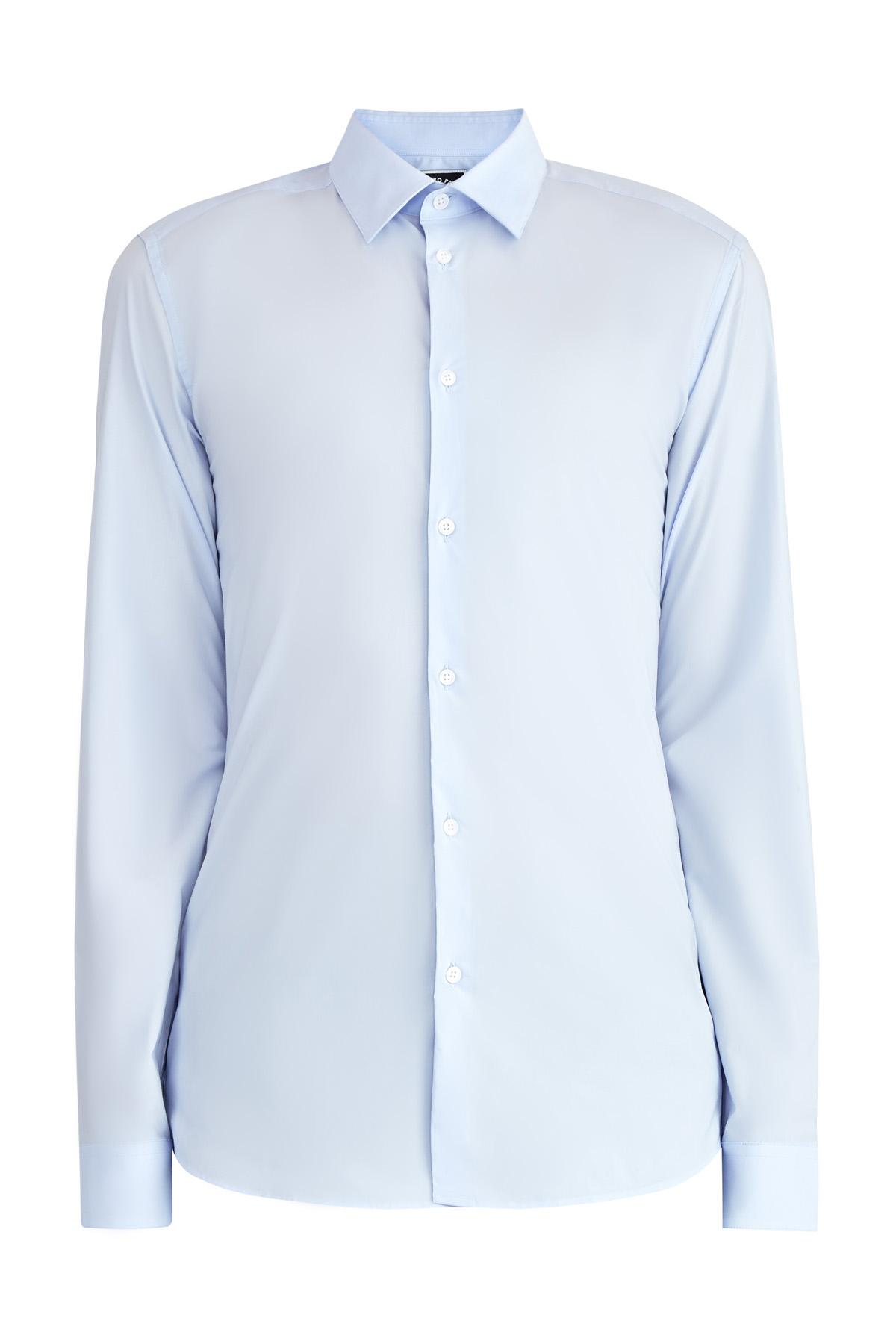 Базовая голубая рубашка приталенного кроя из поплина фото