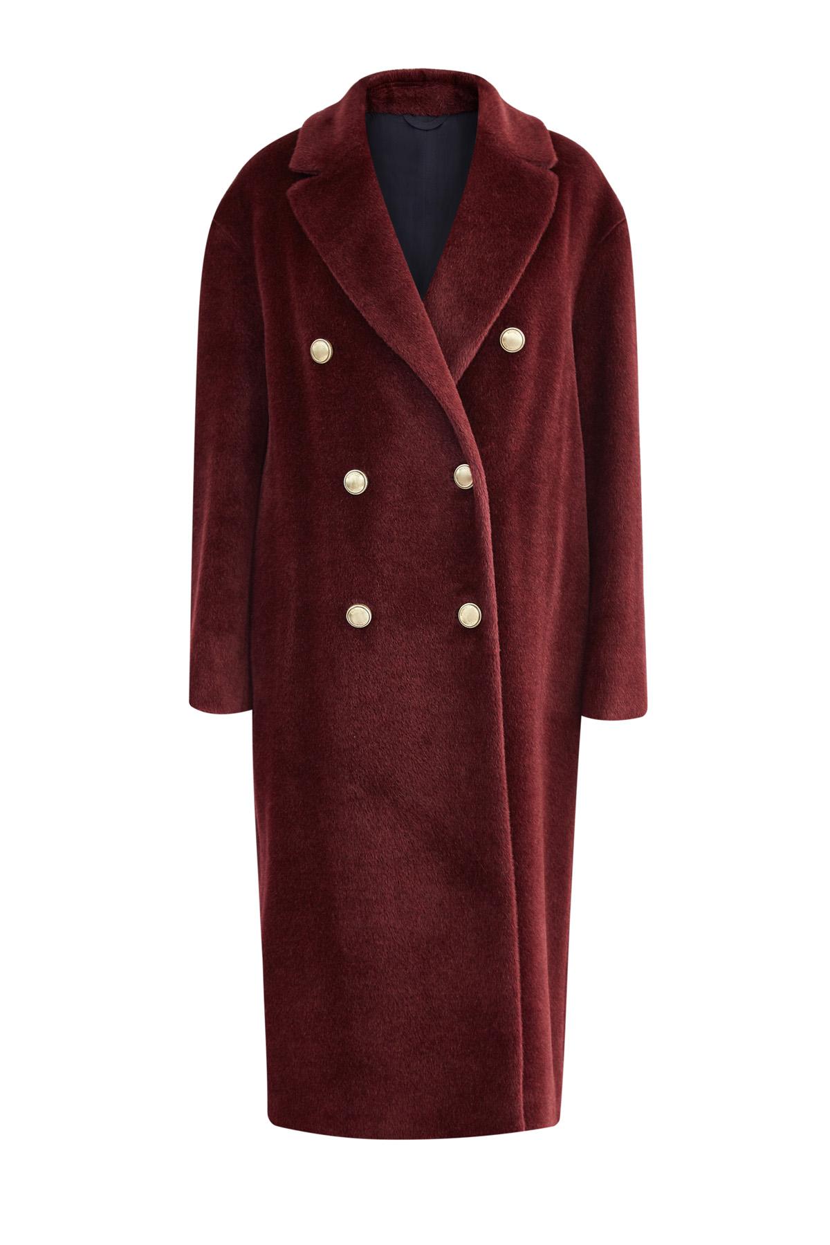 7bff03ee75b Женское яркое пальто из шерсти альпаки soft глубокого винного цвета ...