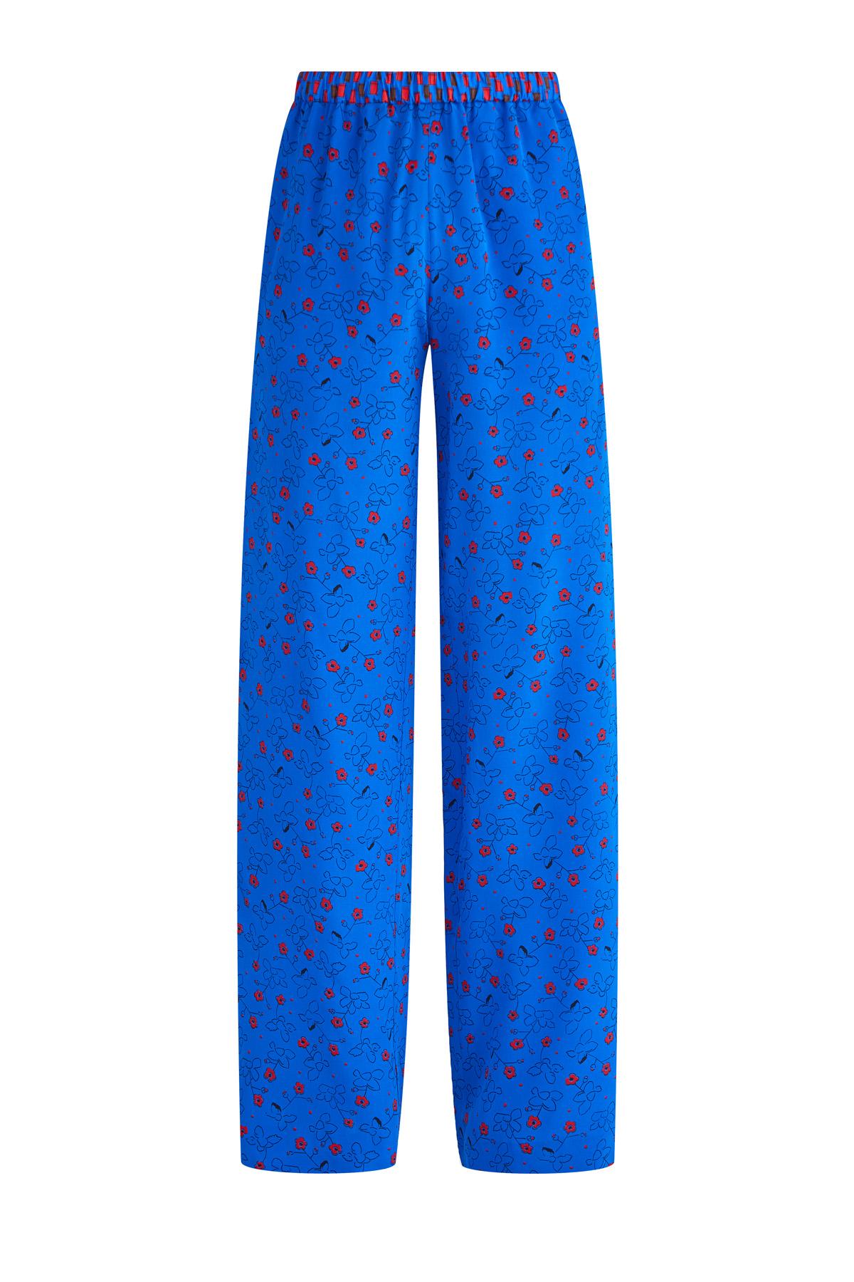 Купить со скидкой Брюки в пижамном стиле из шелка с принтом с флористическим мотивом