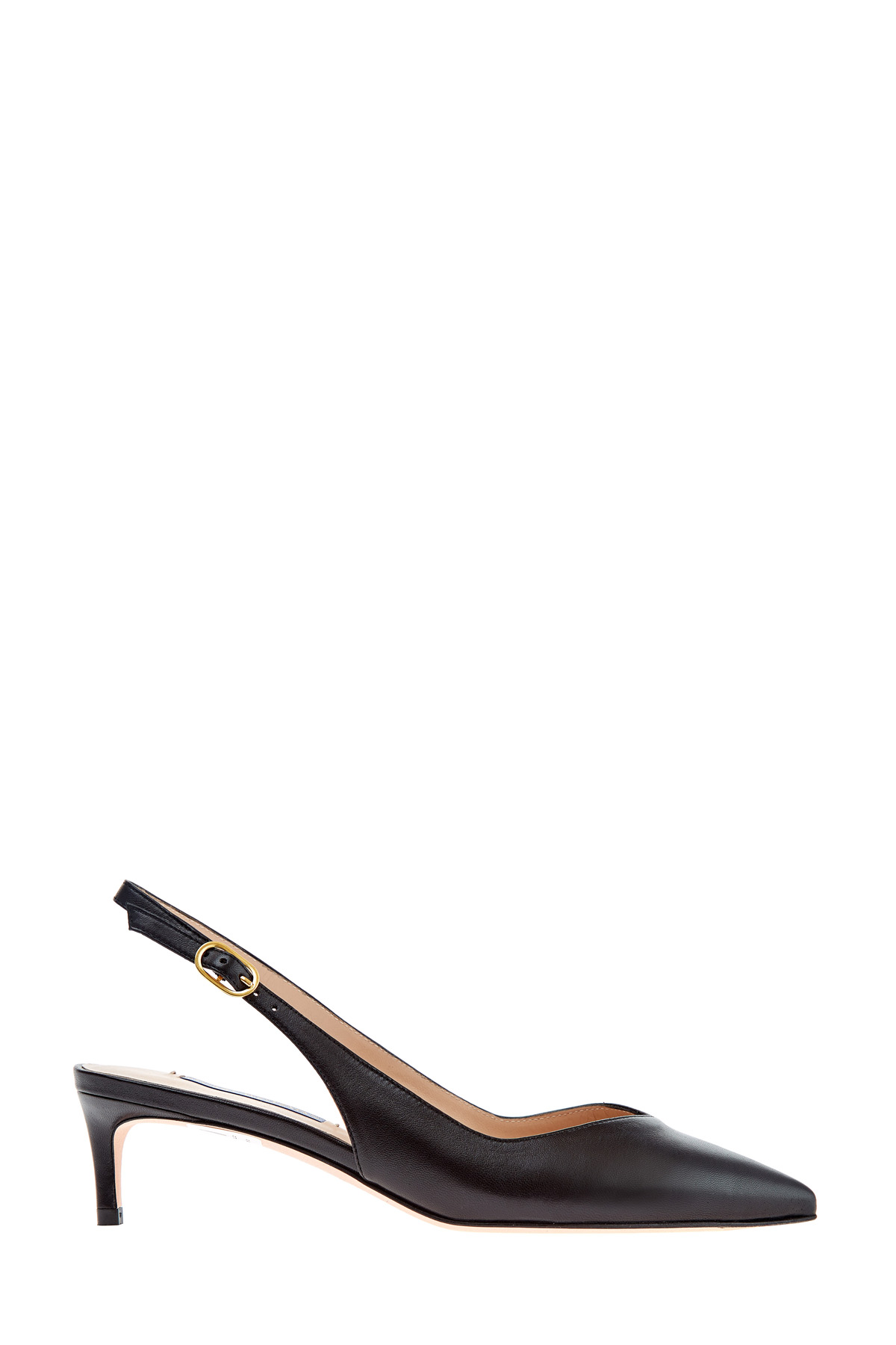 Классические туфли на каблуке Kitten Heel из мелкозернистой кожи фото