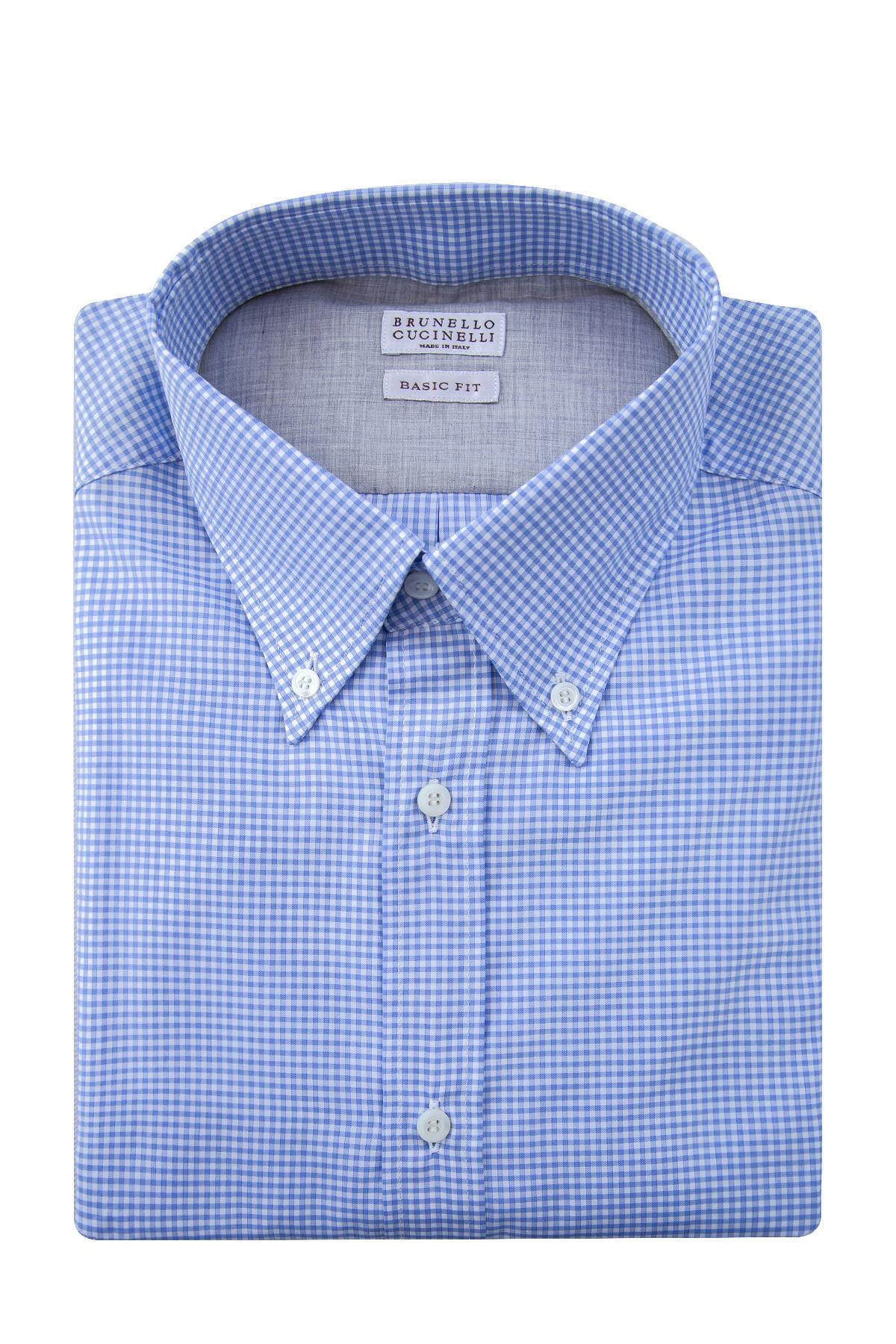 Купить Рубашка из хлопкового поплина с геометрическим микроузором, BRUNELLO CUCINELLI, Италия, хлопок 100%