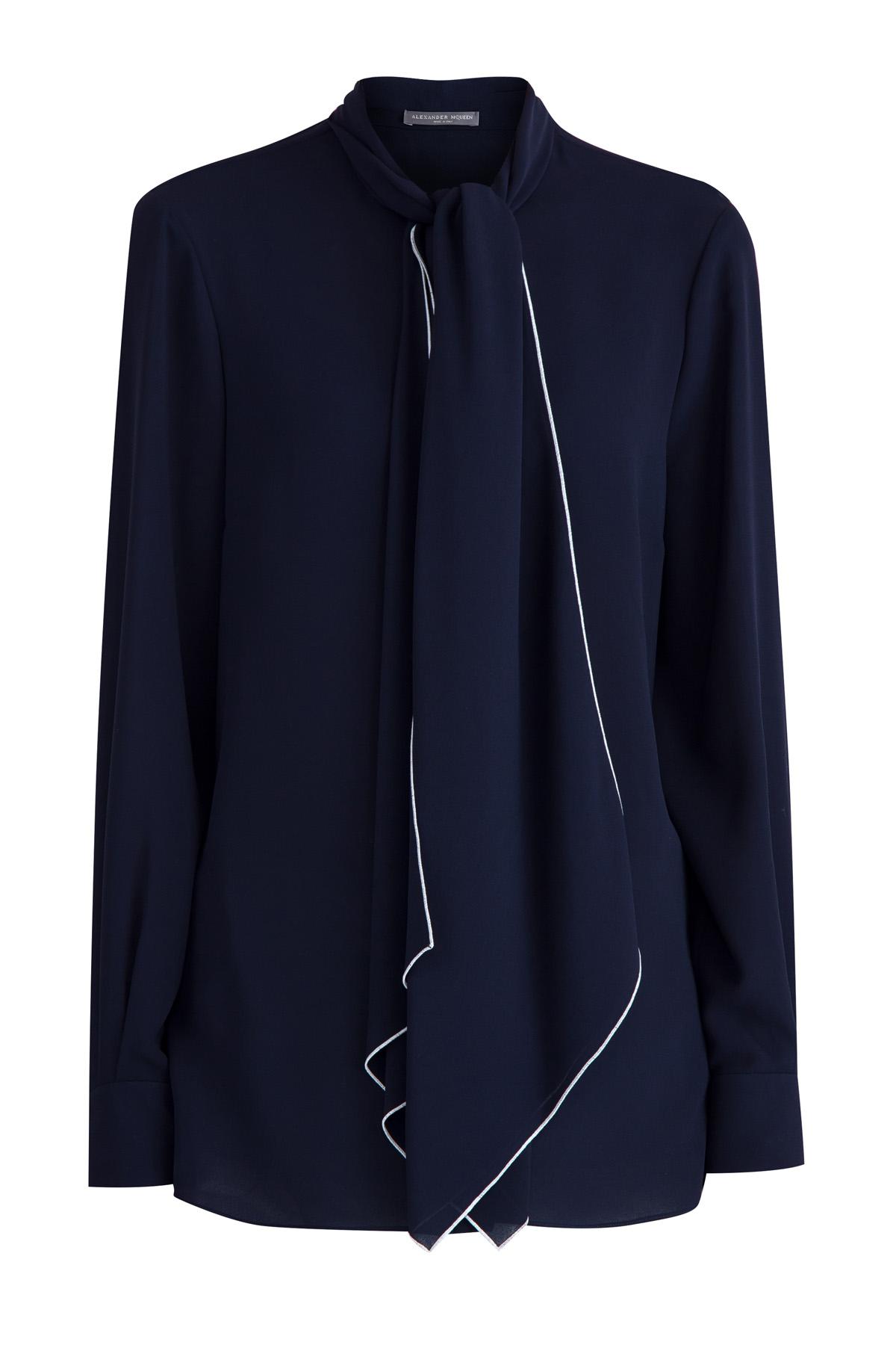 Блуза из шелка с лентами на вороте и контрастным кантом фото