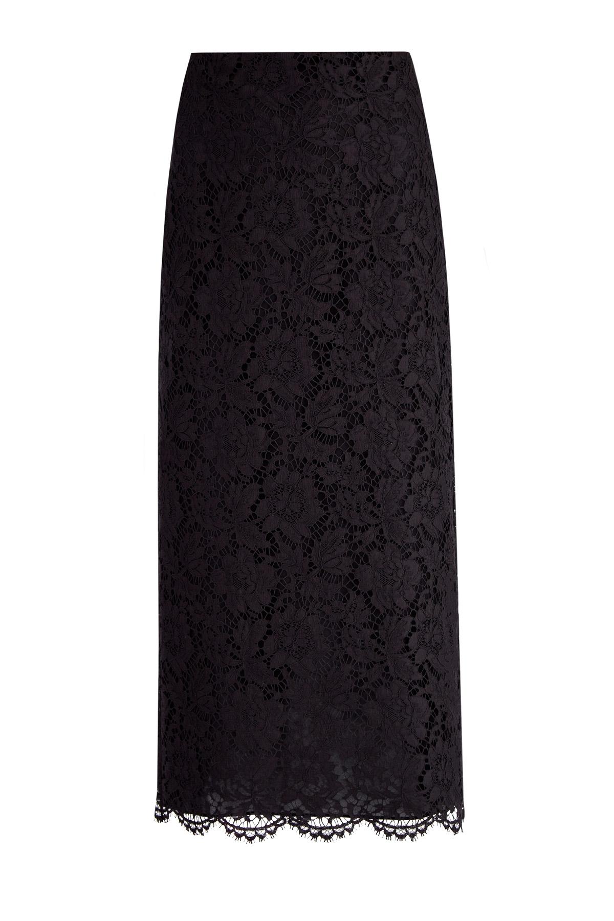 Прямая юбка из кружева Heavy Lace и атласного шелка