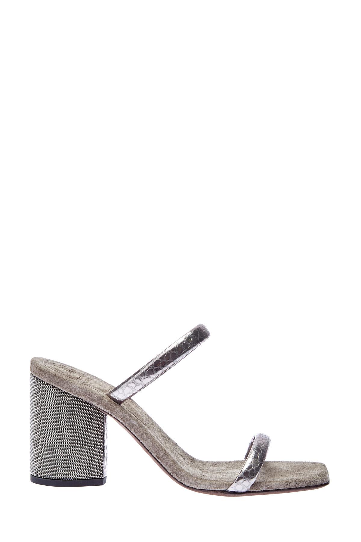 Сабо из металлизированной кожи с вышивкой Мониль