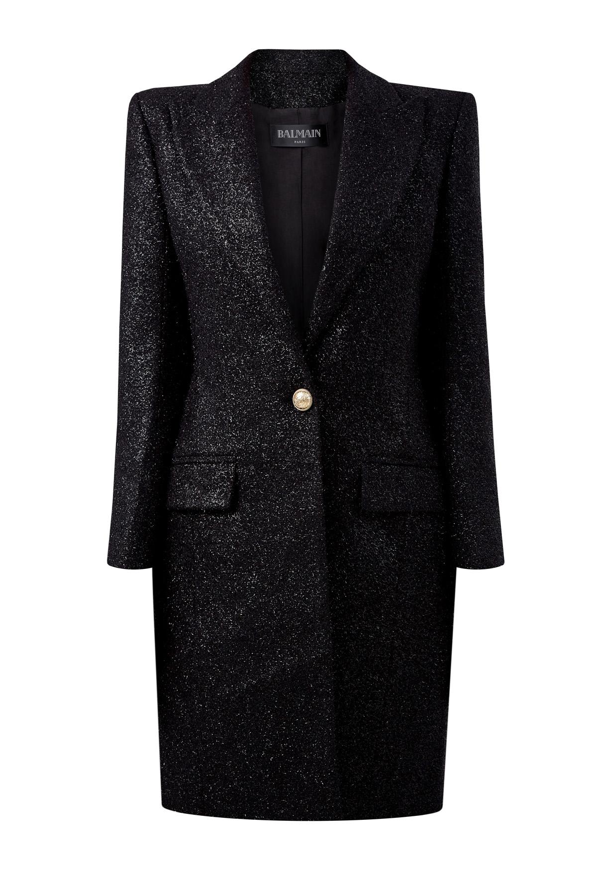 Пальто из плотного твида с люрексом фото